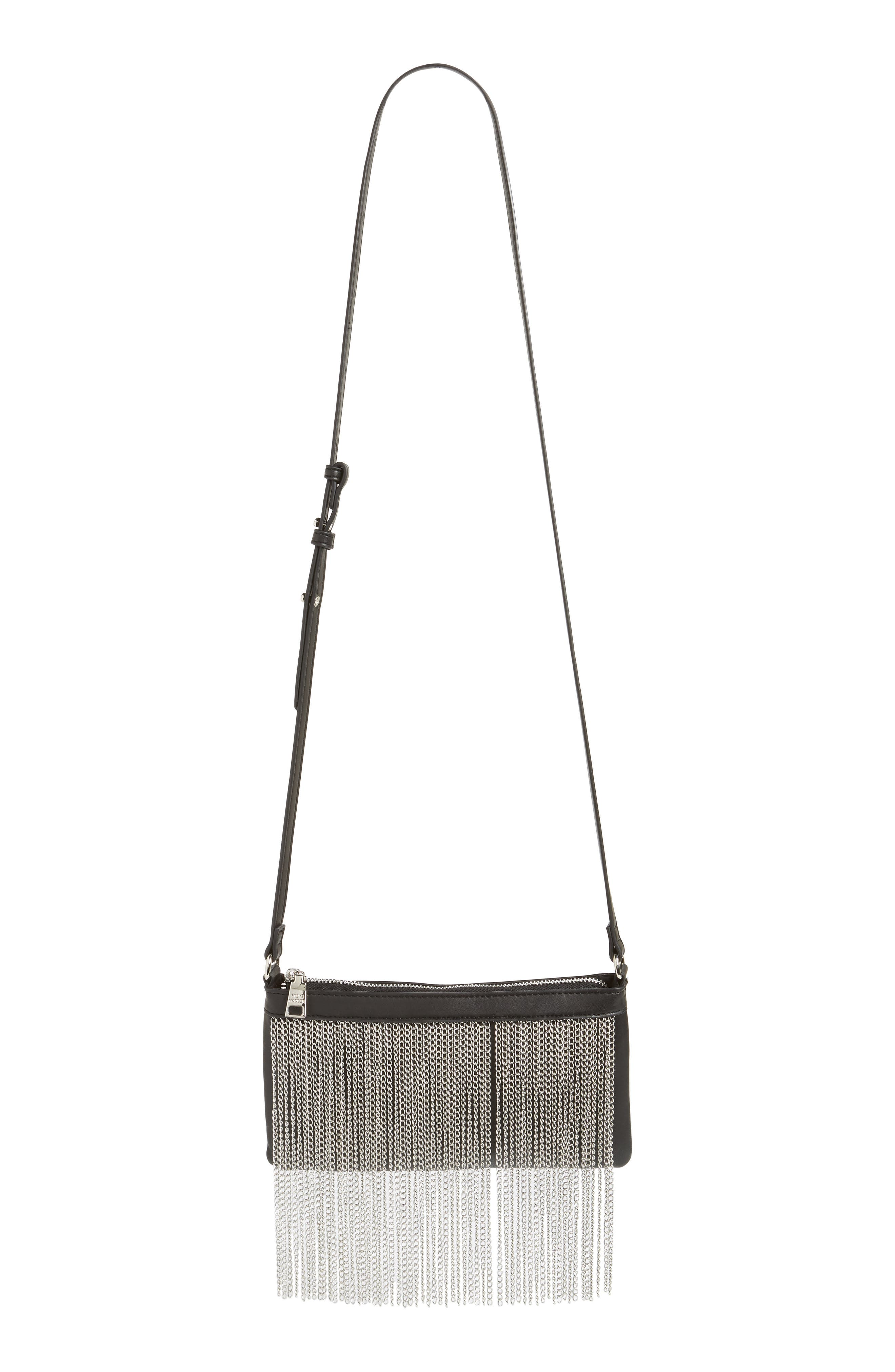 Chain Fringe Crossbody Bag,                             Alternate thumbnail 2, color,                             Black