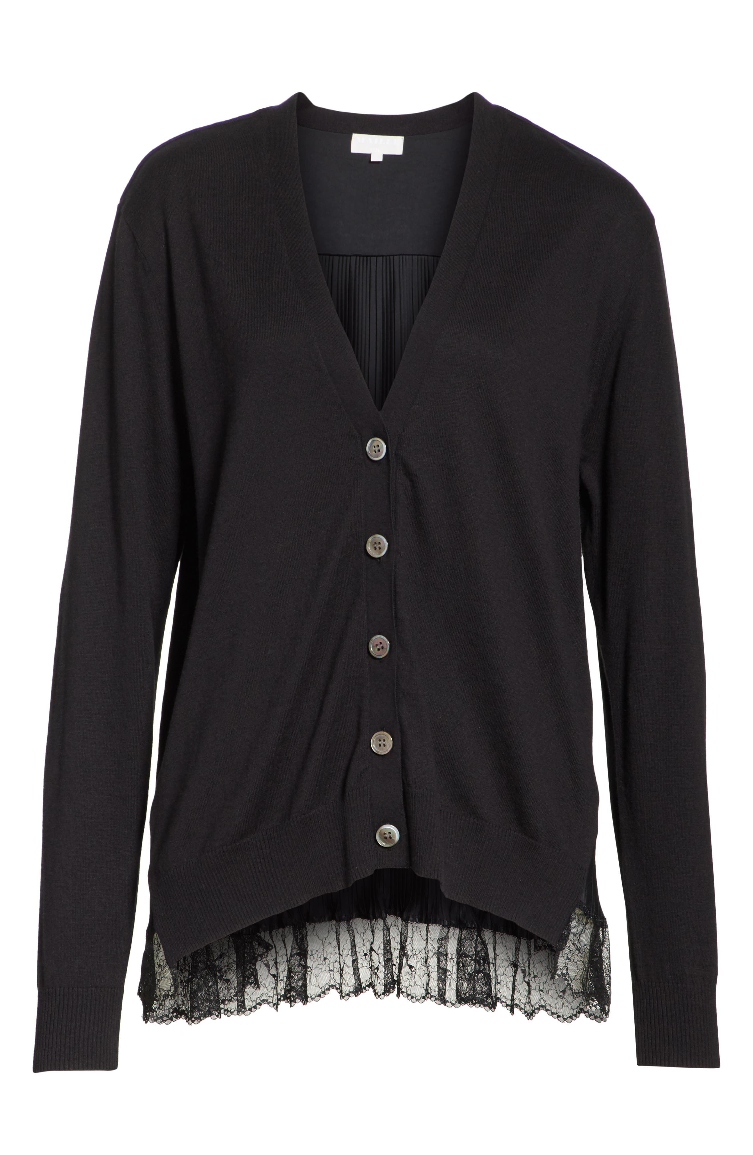 Pleat Back Cardigan,                             Alternate thumbnail 7, color,                             Black