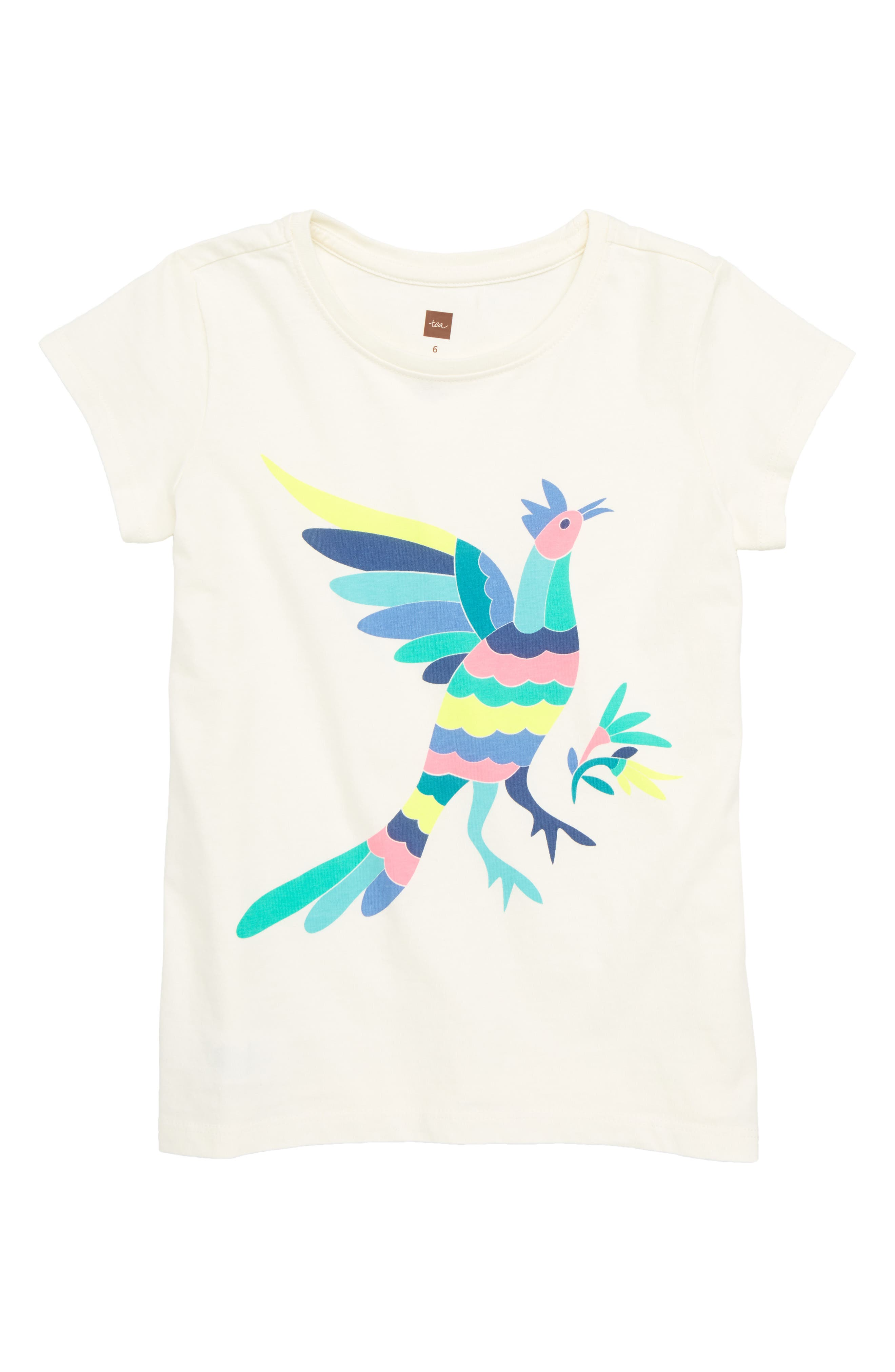 Otomi Bird Graphic Tee,                         Main,                         color, Chalk
