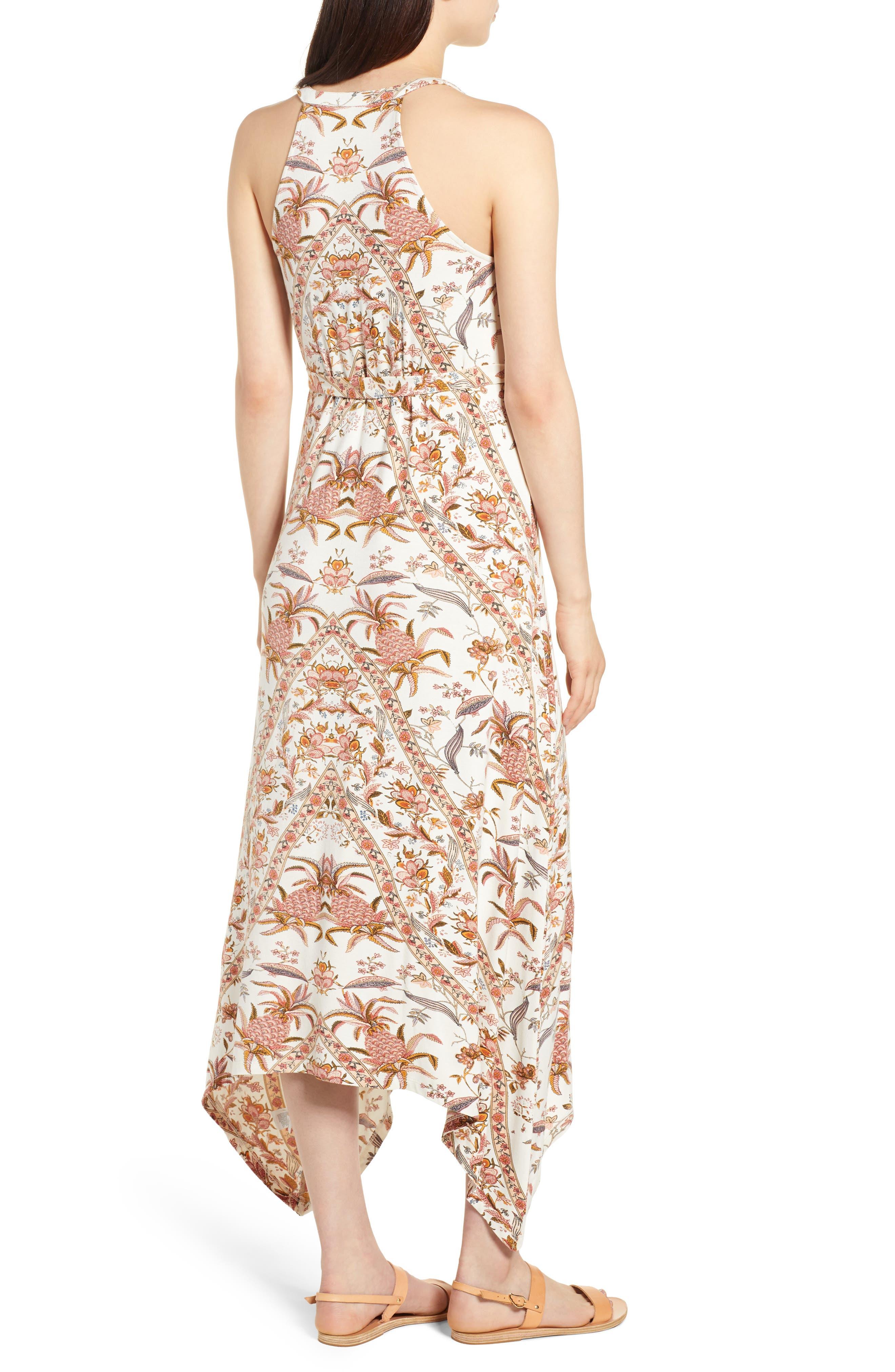 V-Neck Print Maxi Dress,                             Alternate thumbnail 2, color,                             Pink Multi