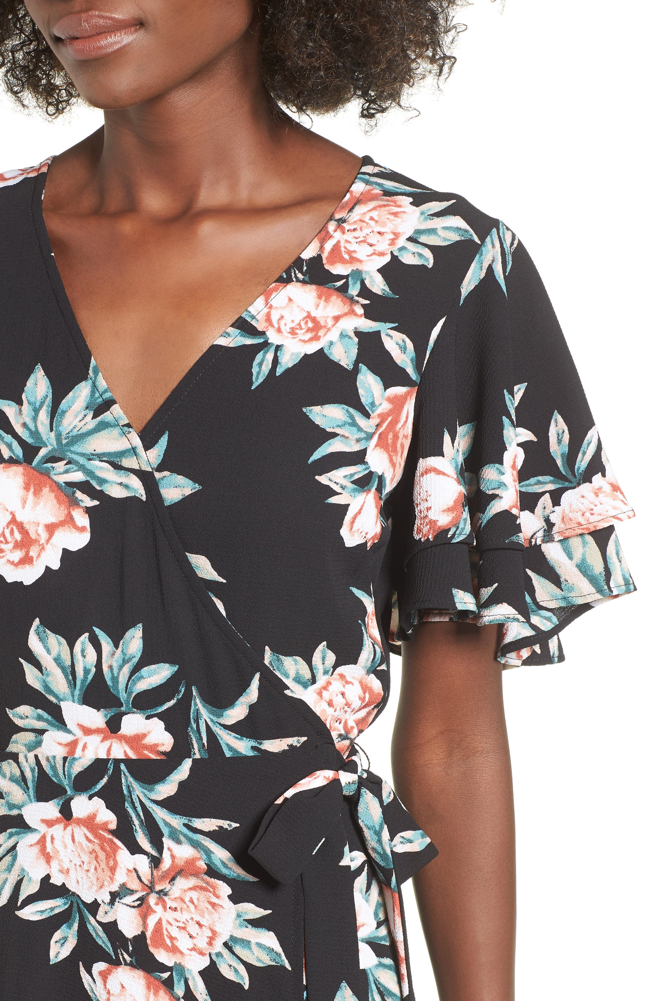 Ruffle Sleeve Floral Maxi Dress,                             Alternate thumbnail 4, color,                             Black Floral
