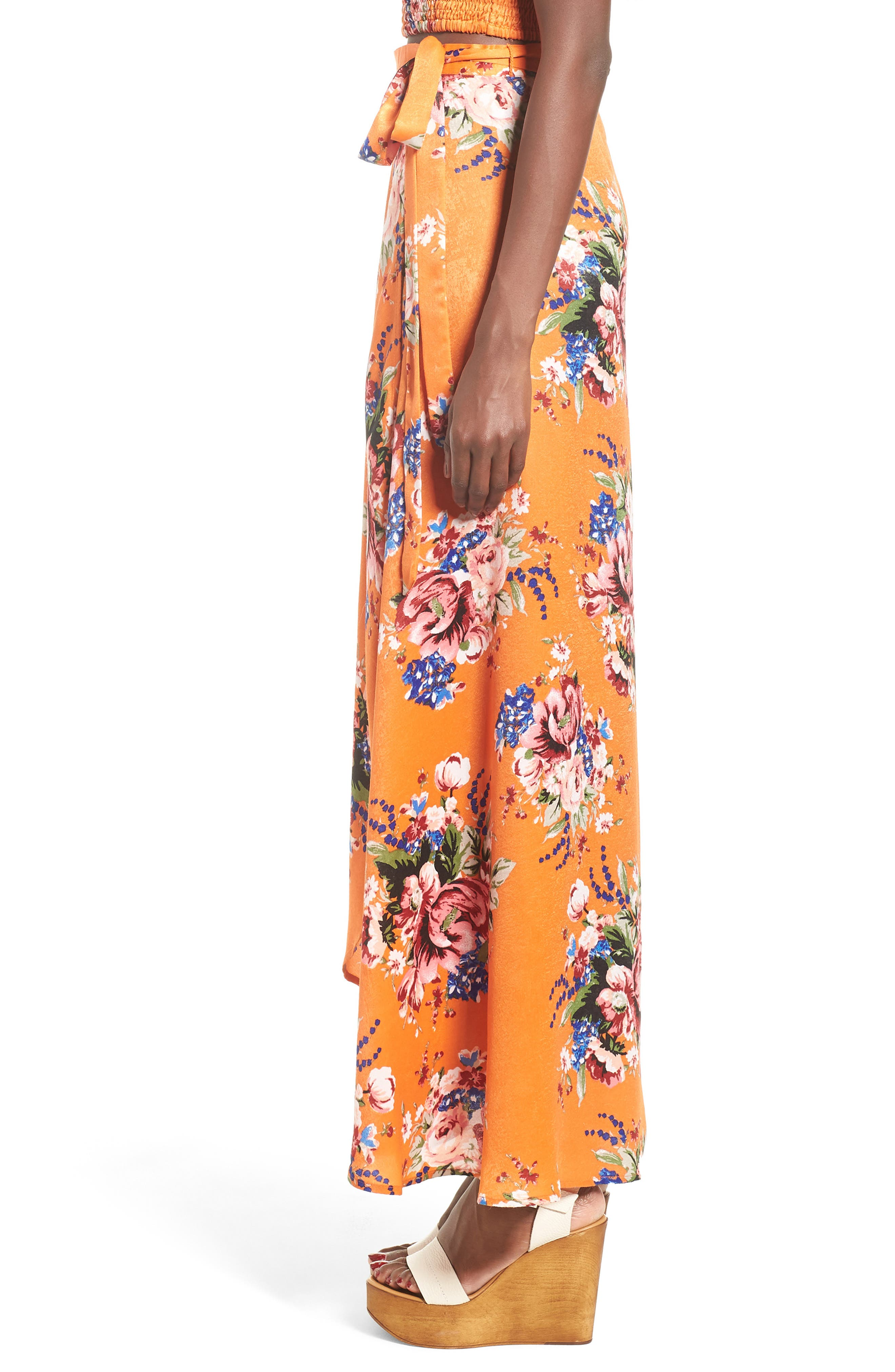 Zoey Satin Wrap Skirt,                             Alternate thumbnail 6, color,                             Orange Rose
