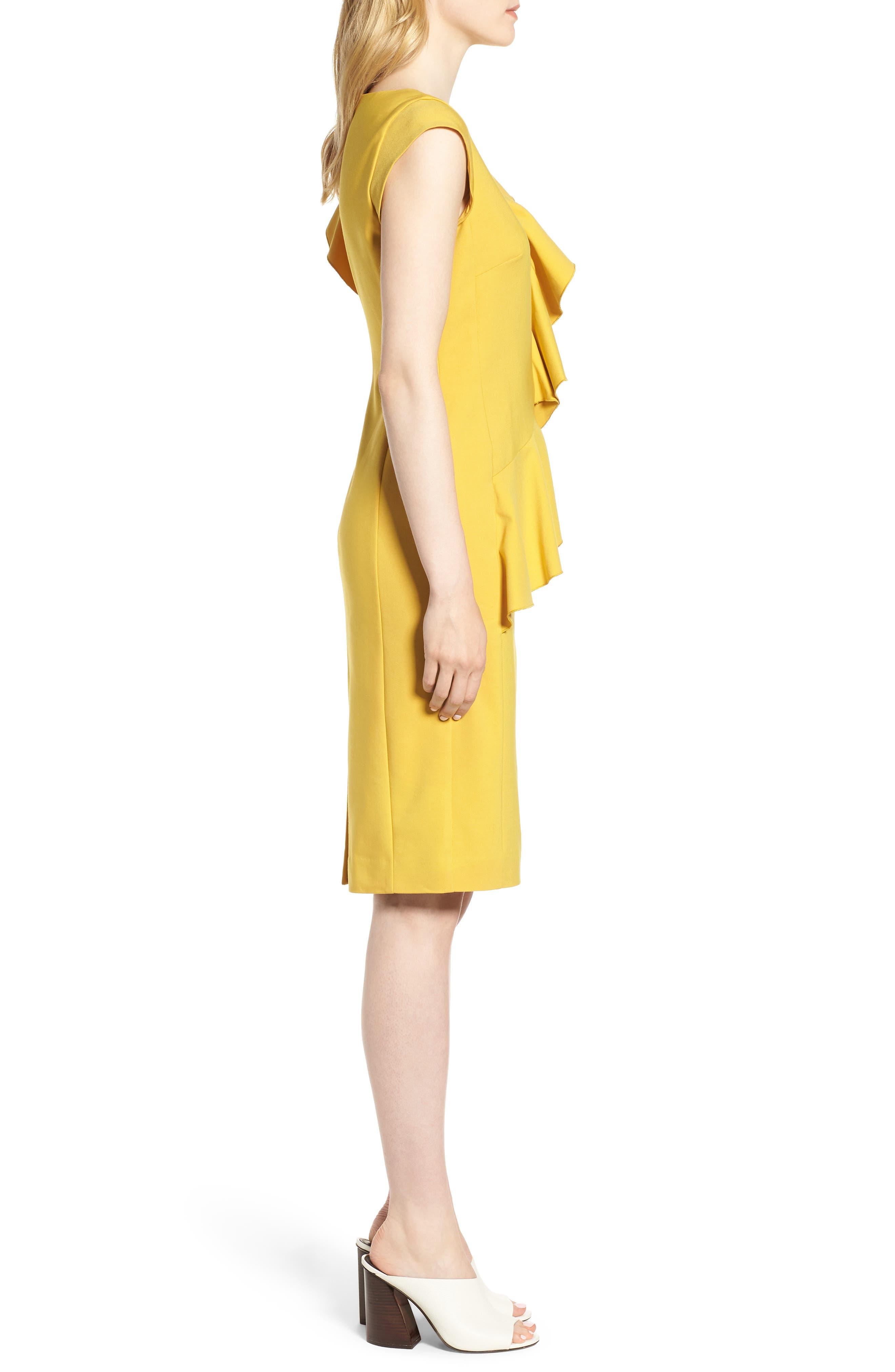 Ruffle Trim Sheath Dress,                             Alternate thumbnail 3, color,                             Yellow Tea