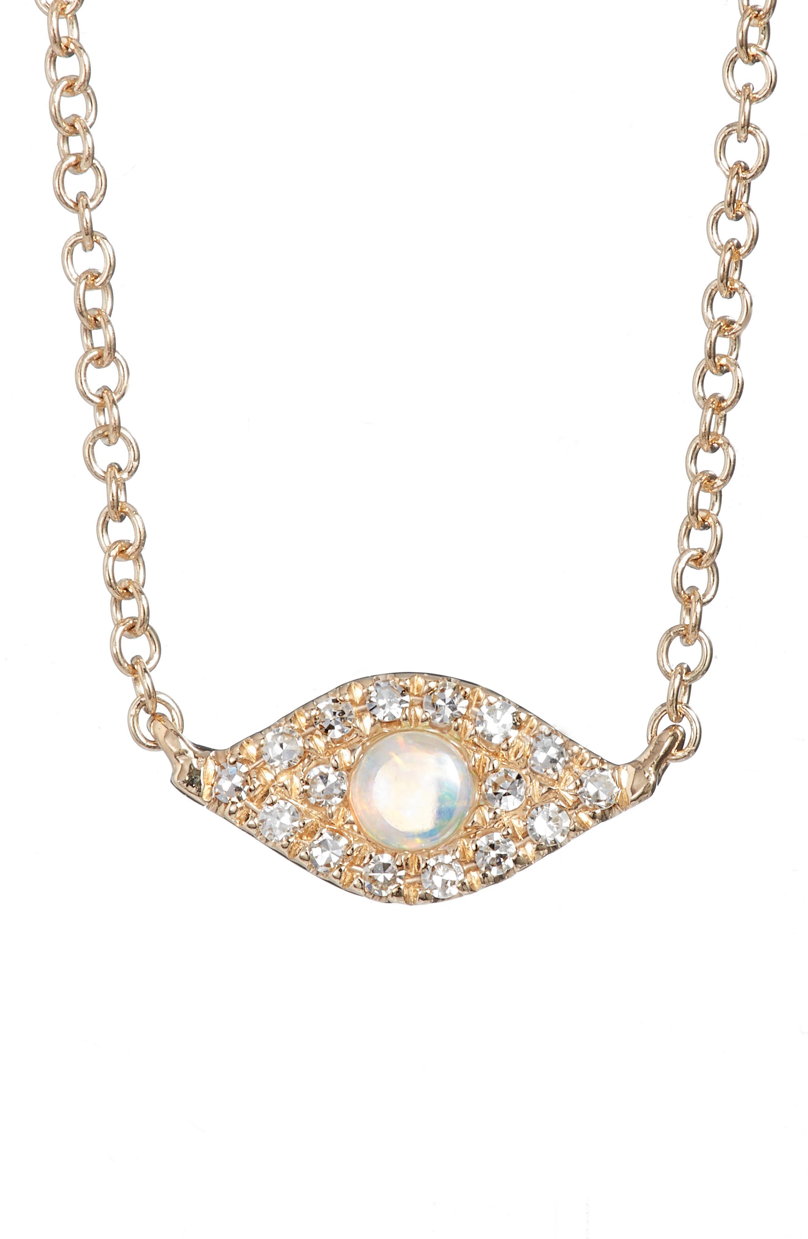 Evil Eye Diamond & Sapphire Pendant Necklace,                         Main,                         color, Yellow Gold/ Opal