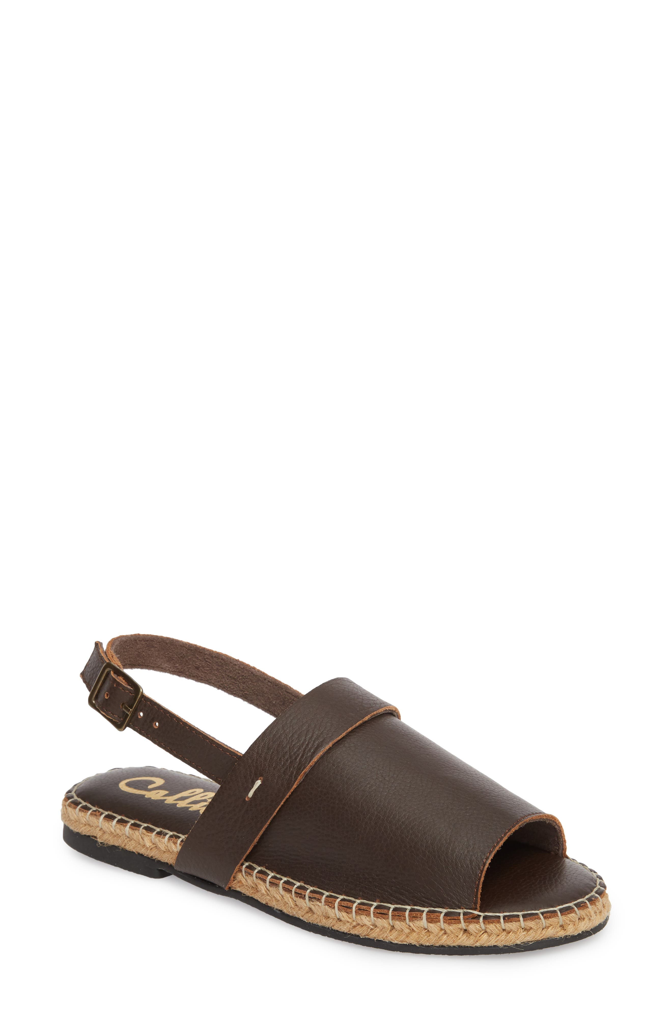 Turn Key Espadrille Sandal,                             Main thumbnail 1, color,                             Brown Leather
