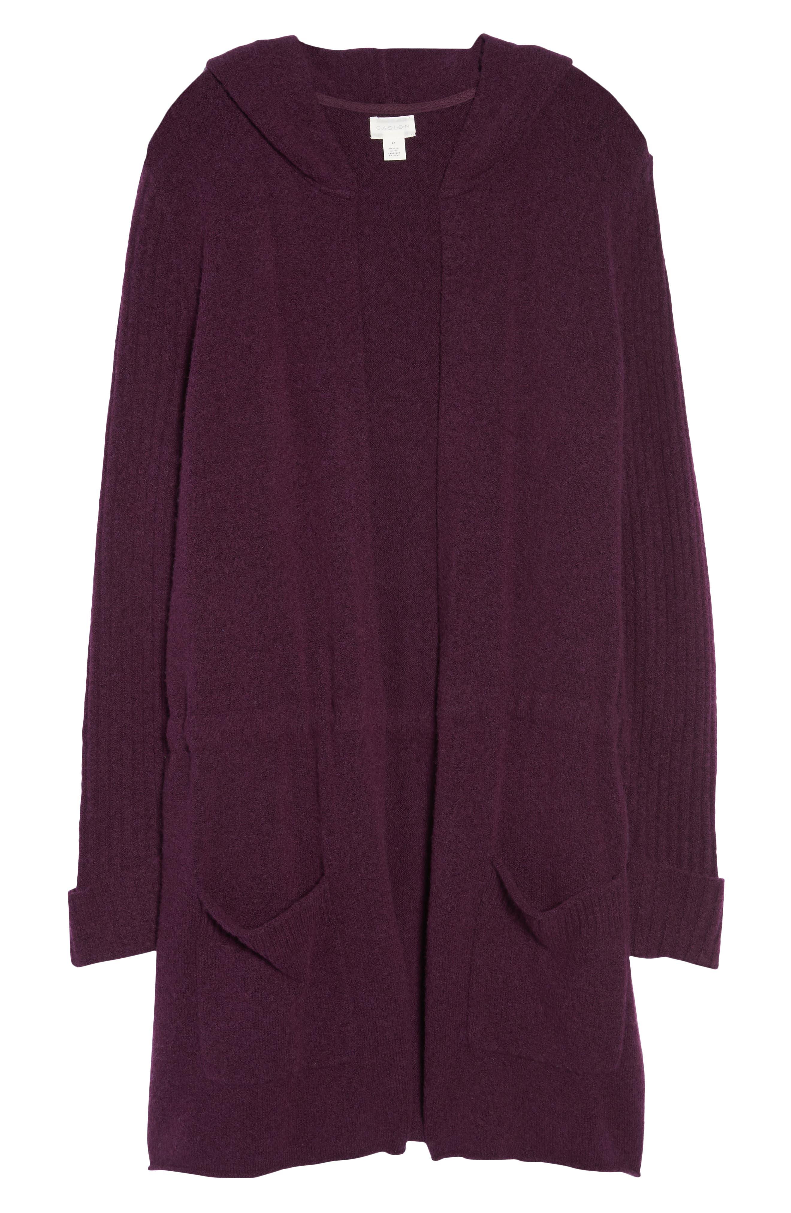 Hooded Cardigan,                             Alternate thumbnail 7, color,                             Purple Potent