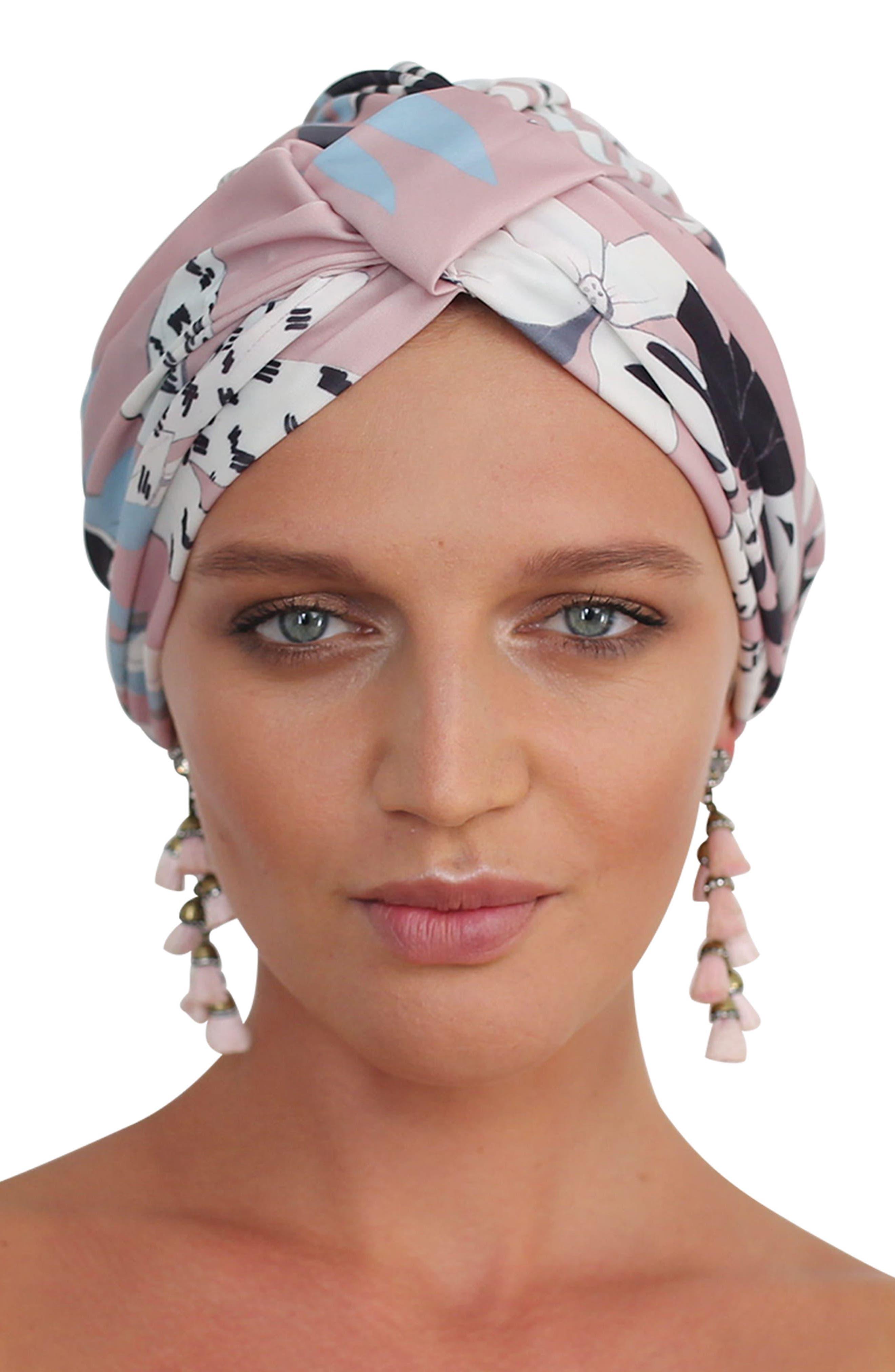 Amelie Turban Shower Cap,                             Alternate thumbnail 2, color,                             Soft Pink Floral