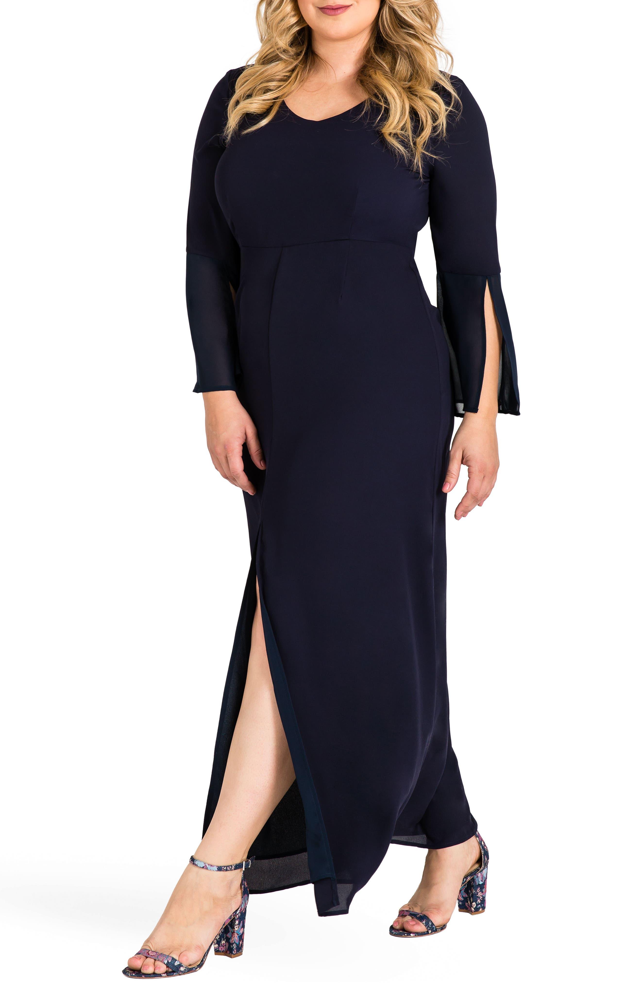 Norah Maxi Dress,                             Alternate thumbnail 3, color,                             Navy