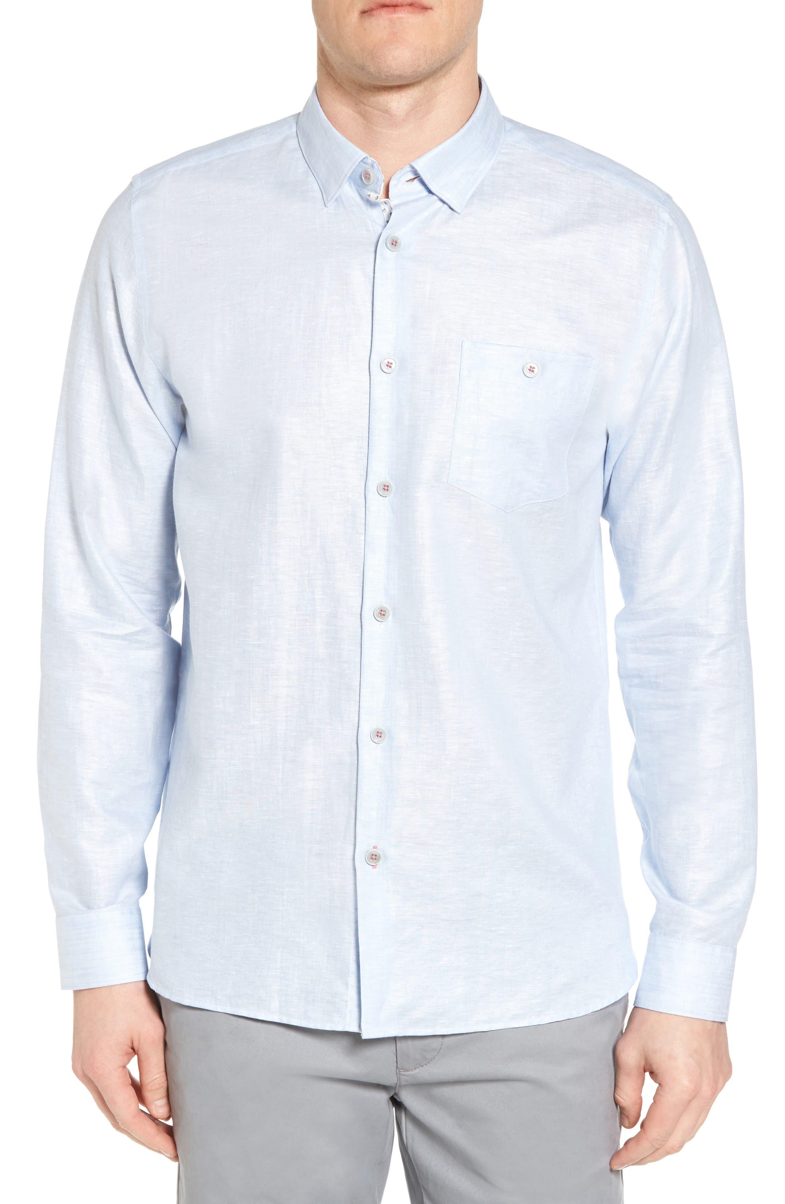 Ted Baker London Linlins Herringbone Cotton & Linen Sport Shirt