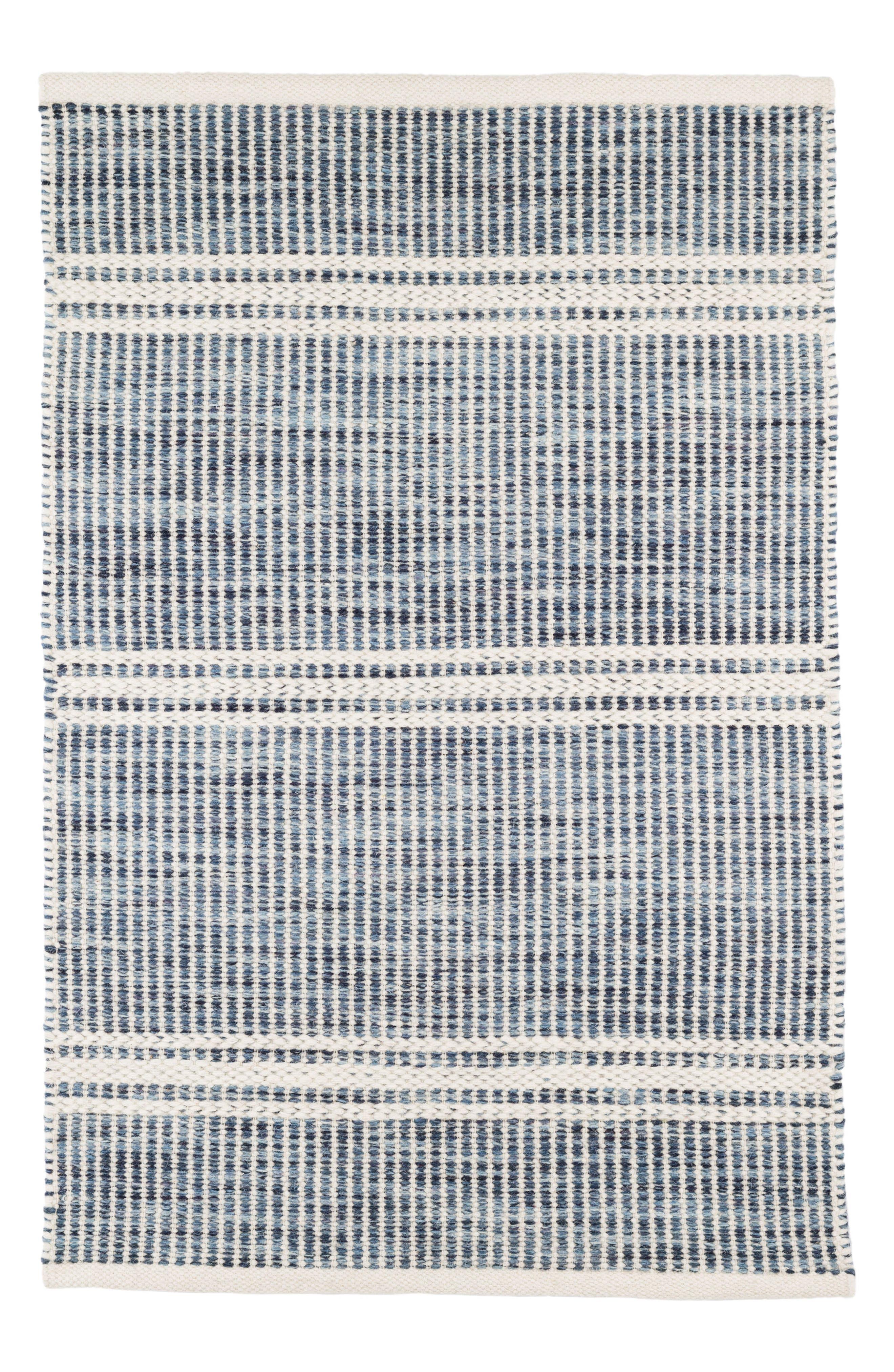 Dash & Albert Malta Blue Woven Wool Blend Rug
