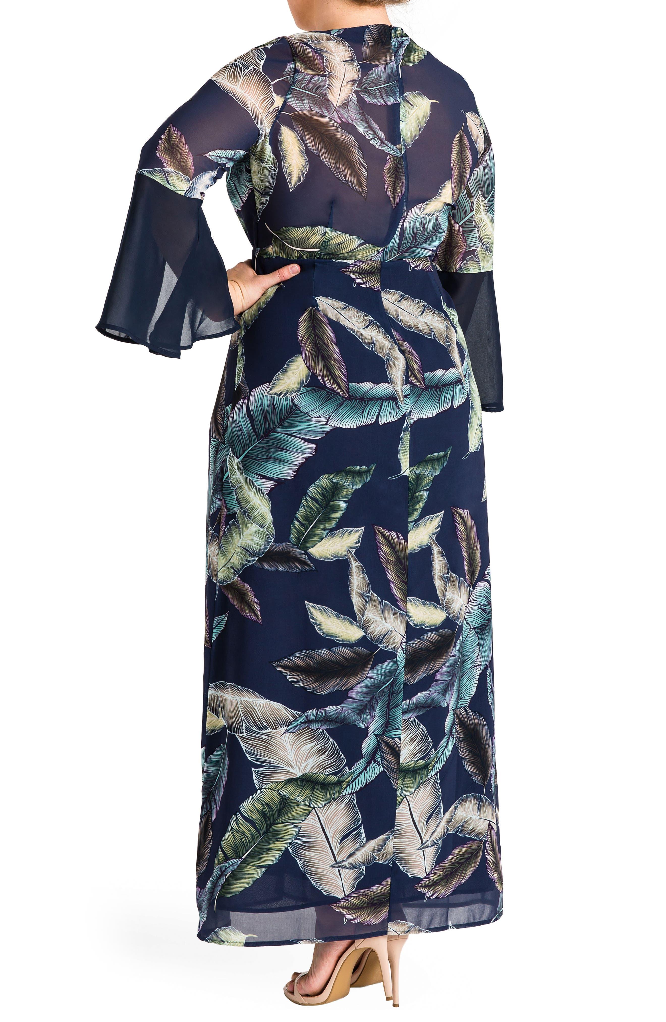 Norah Maxi Dress,                             Alternate thumbnail 2, color,                             Leaf Print
