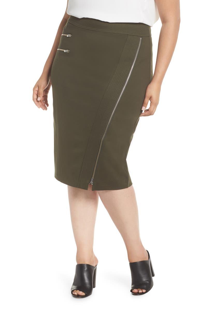 Zipper Detail Ponte Pencil Skirt