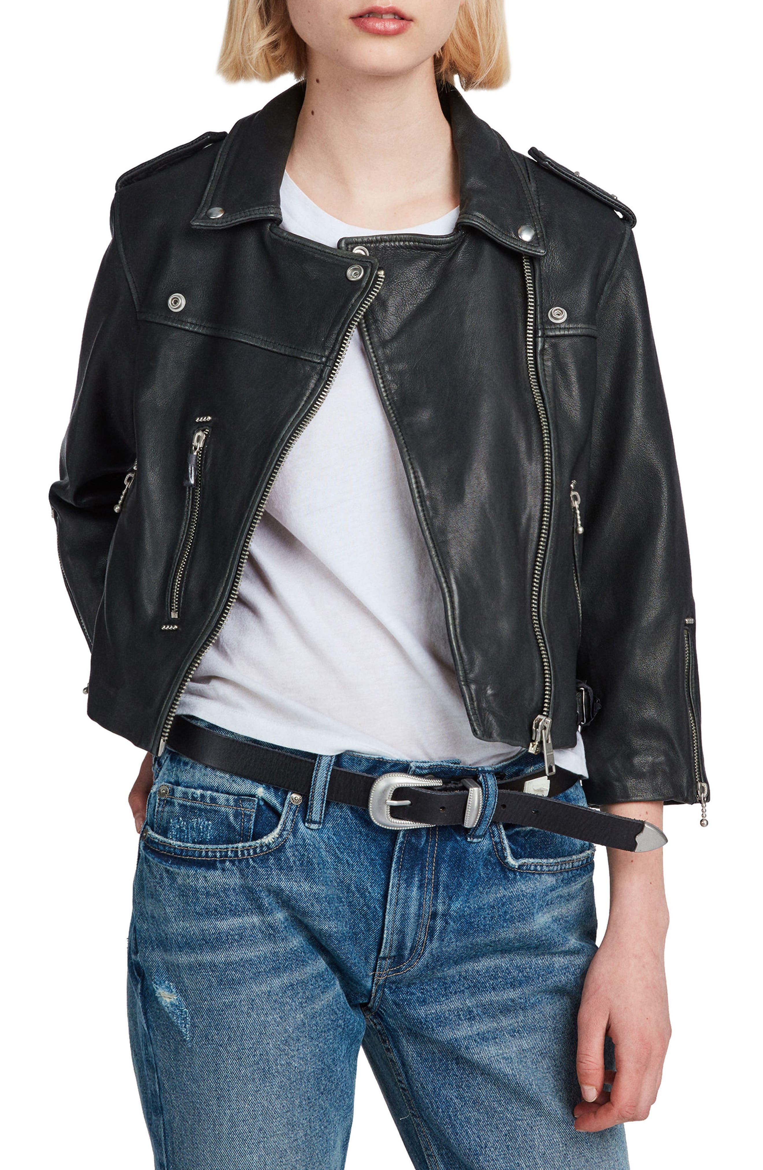 Lara Sheepskin Leather Biker Jacket,                             Main thumbnail 1, color,                             Black
