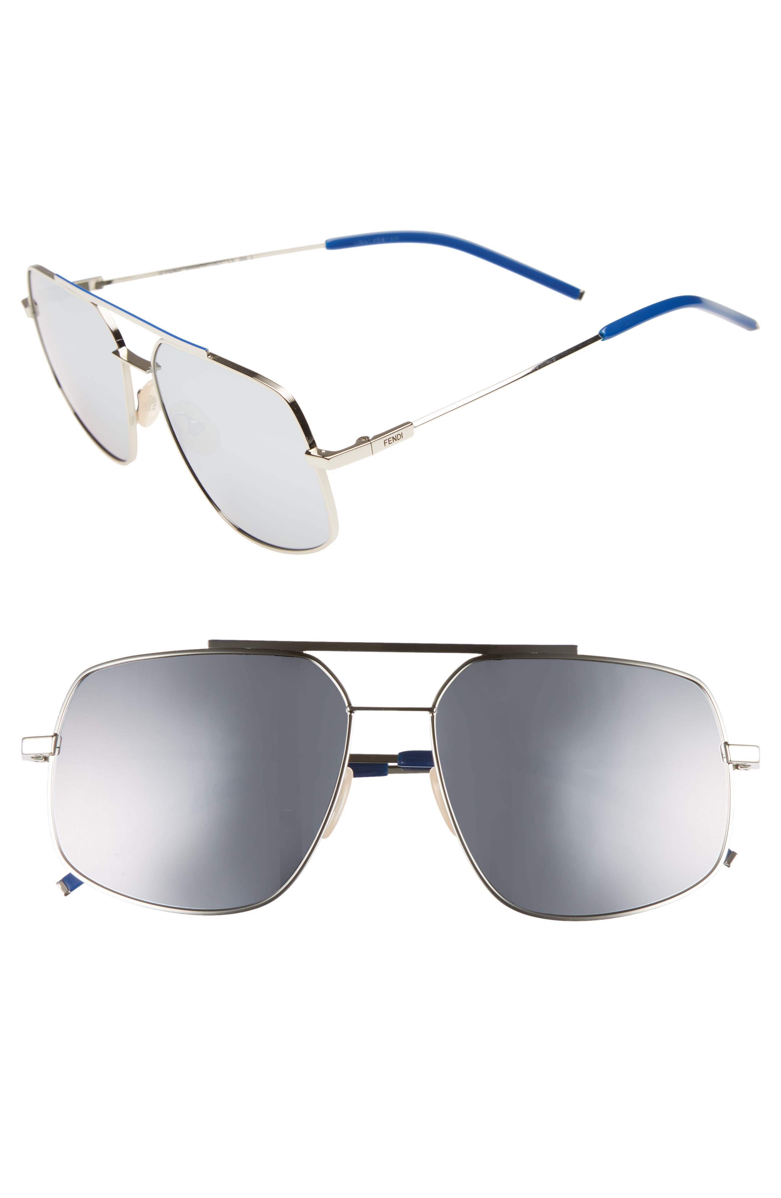 Fendi 58mm Polarized Metal Navigator Sunglasses