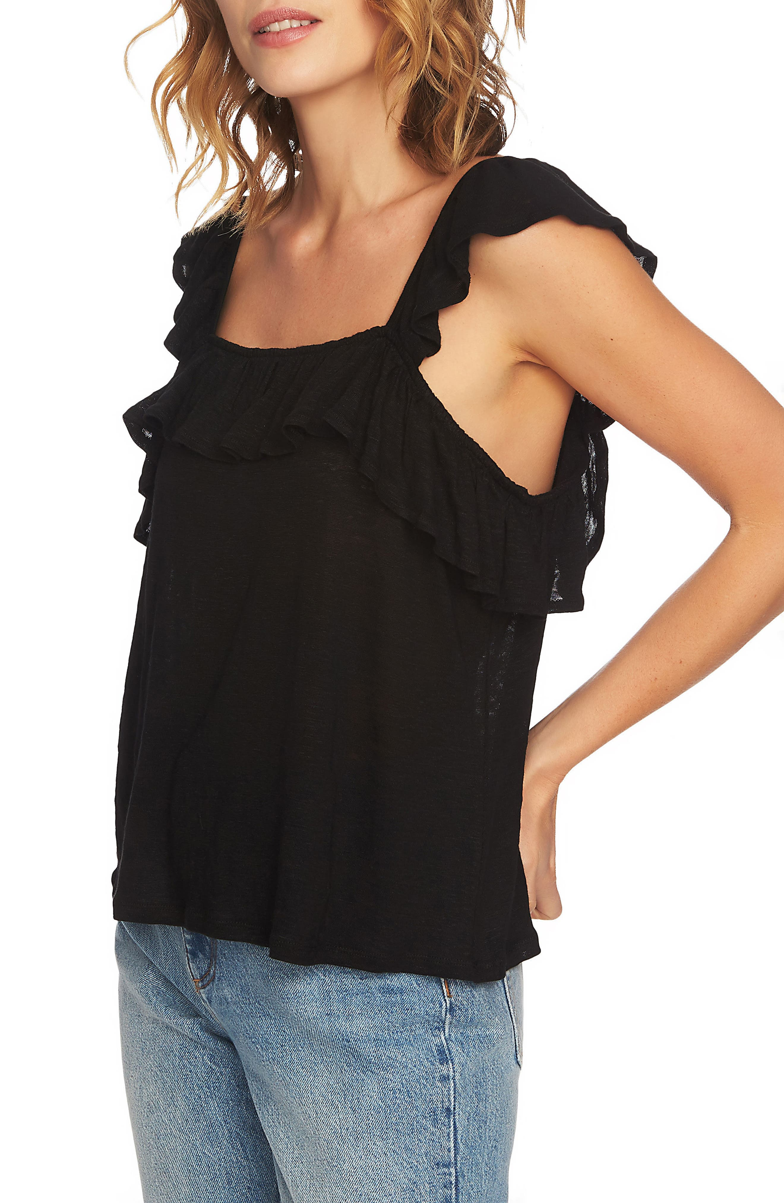 Square Neck Ruffle Top,                             Alternate thumbnail 3, color,                             Rich Black