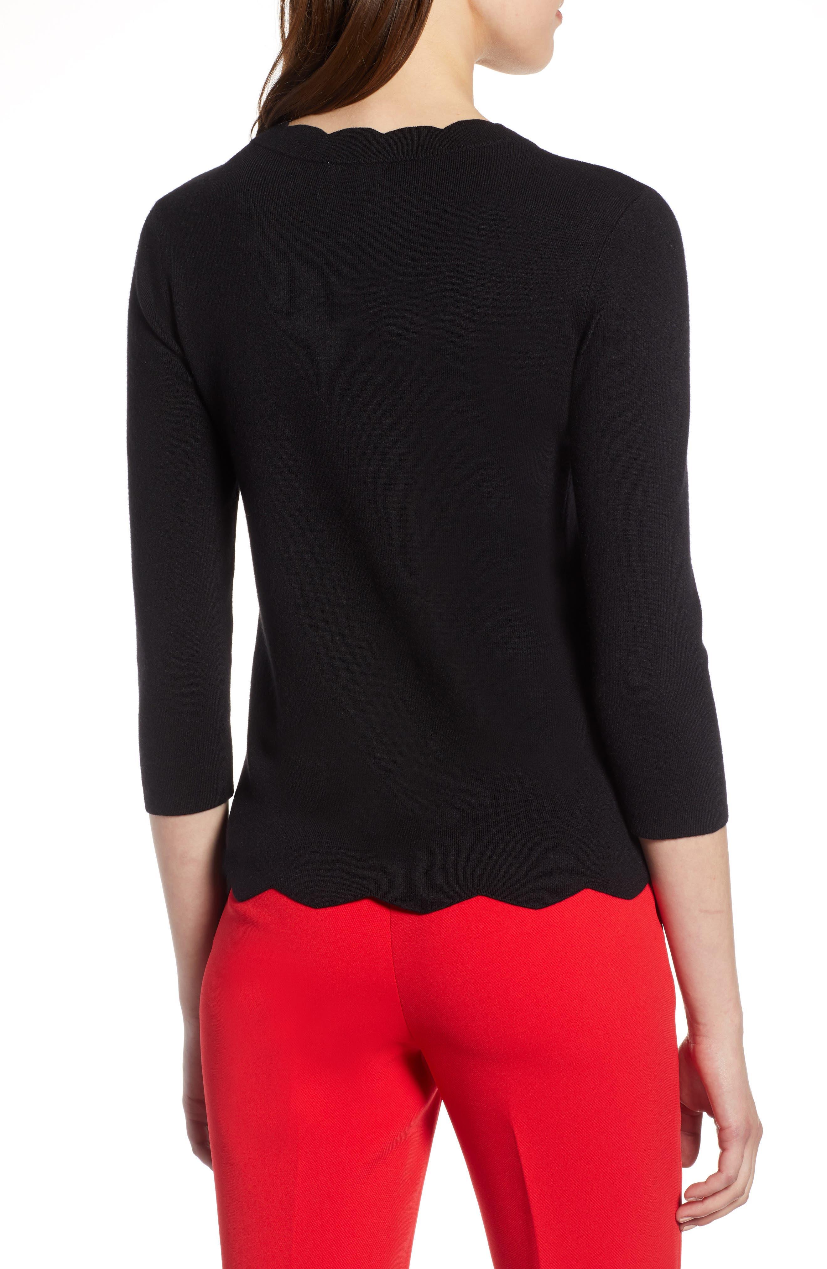 Halogen Scallop Edge Sweater,                             Alternate thumbnail 2, color,                             Black