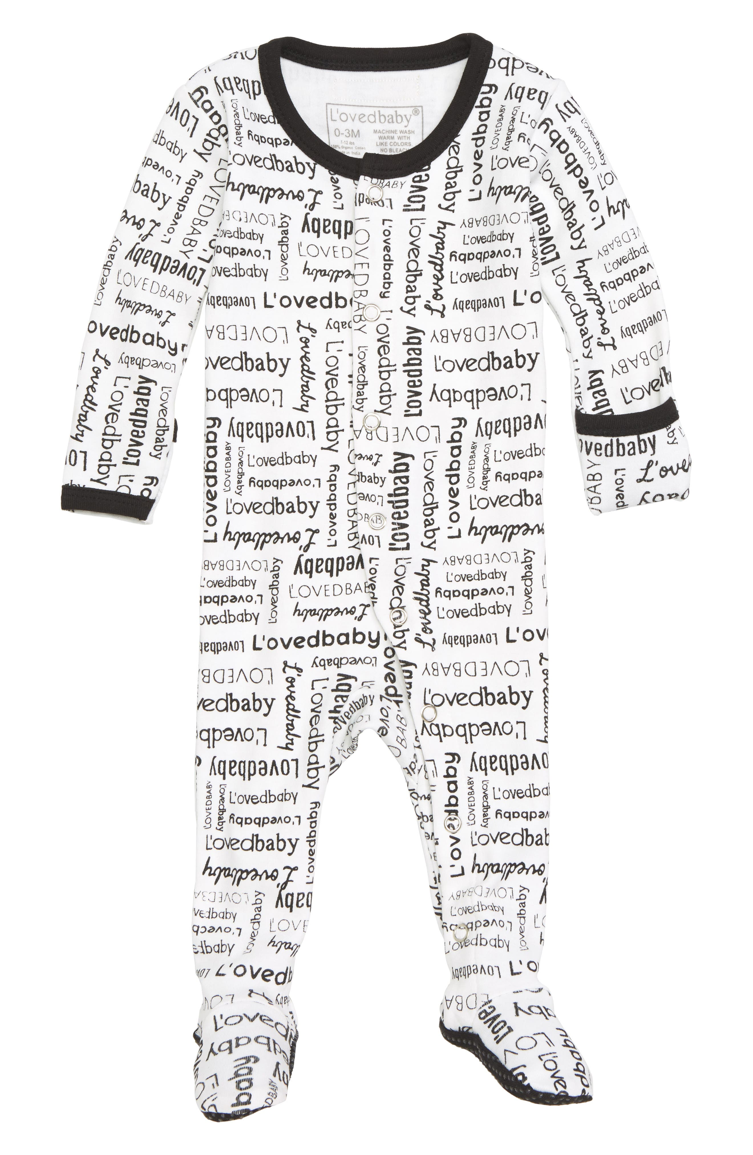 Organic Cotton Footie,                             Main thumbnail 1, color,                             Signature Print