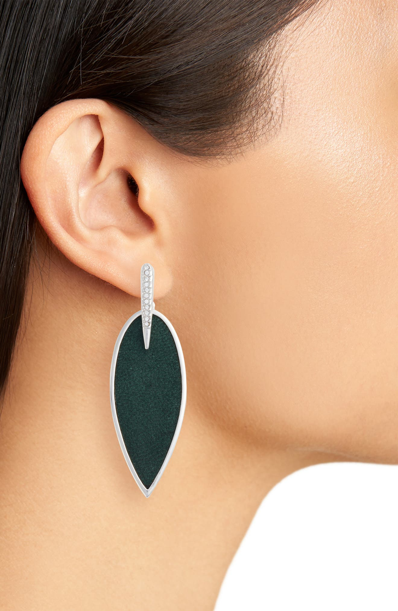 Inlaid Leather Statement Earrings,                             Alternate thumbnail 2, color,                             Silver