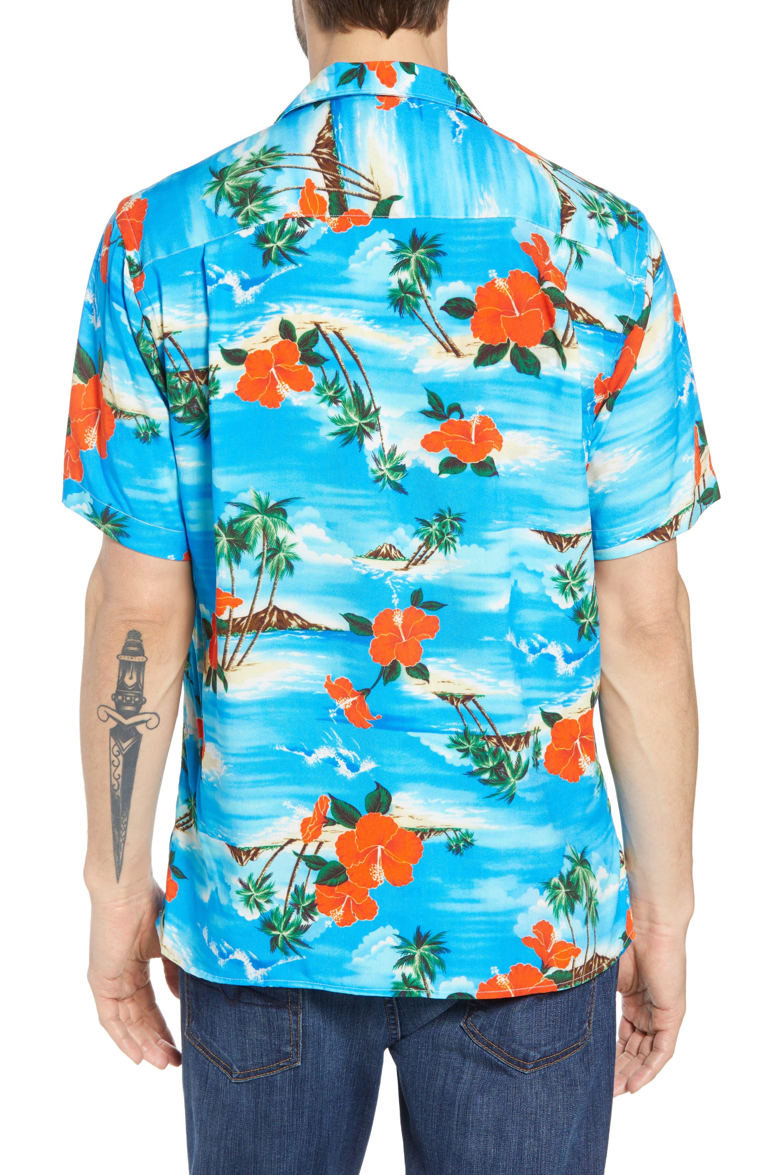 Regular Fit Print Camp Shirt,                             Alternate thumbnail 3, color,                             Blue Aloha
