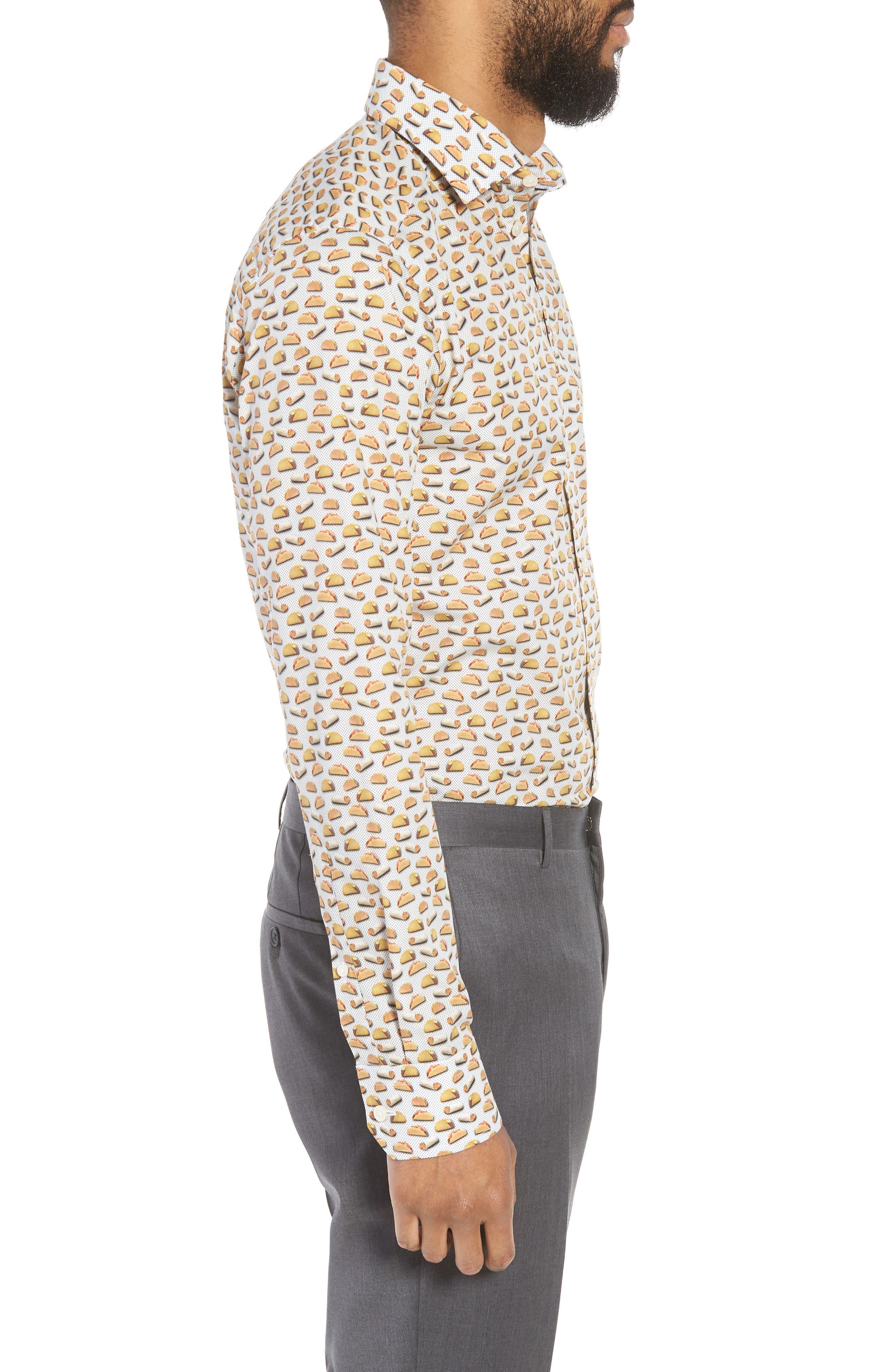 Slim Fit Taco Print Dress Shirt,                             Alternate thumbnail 4, color,                             White