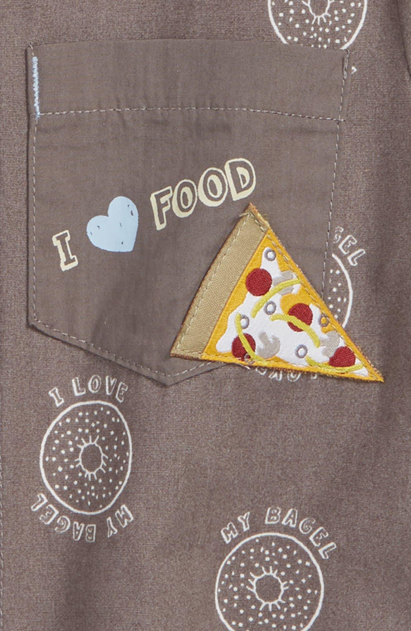 I Love My Bagel Woven Shirt,                             Alternate thumbnail 2, color,                             Charcoal