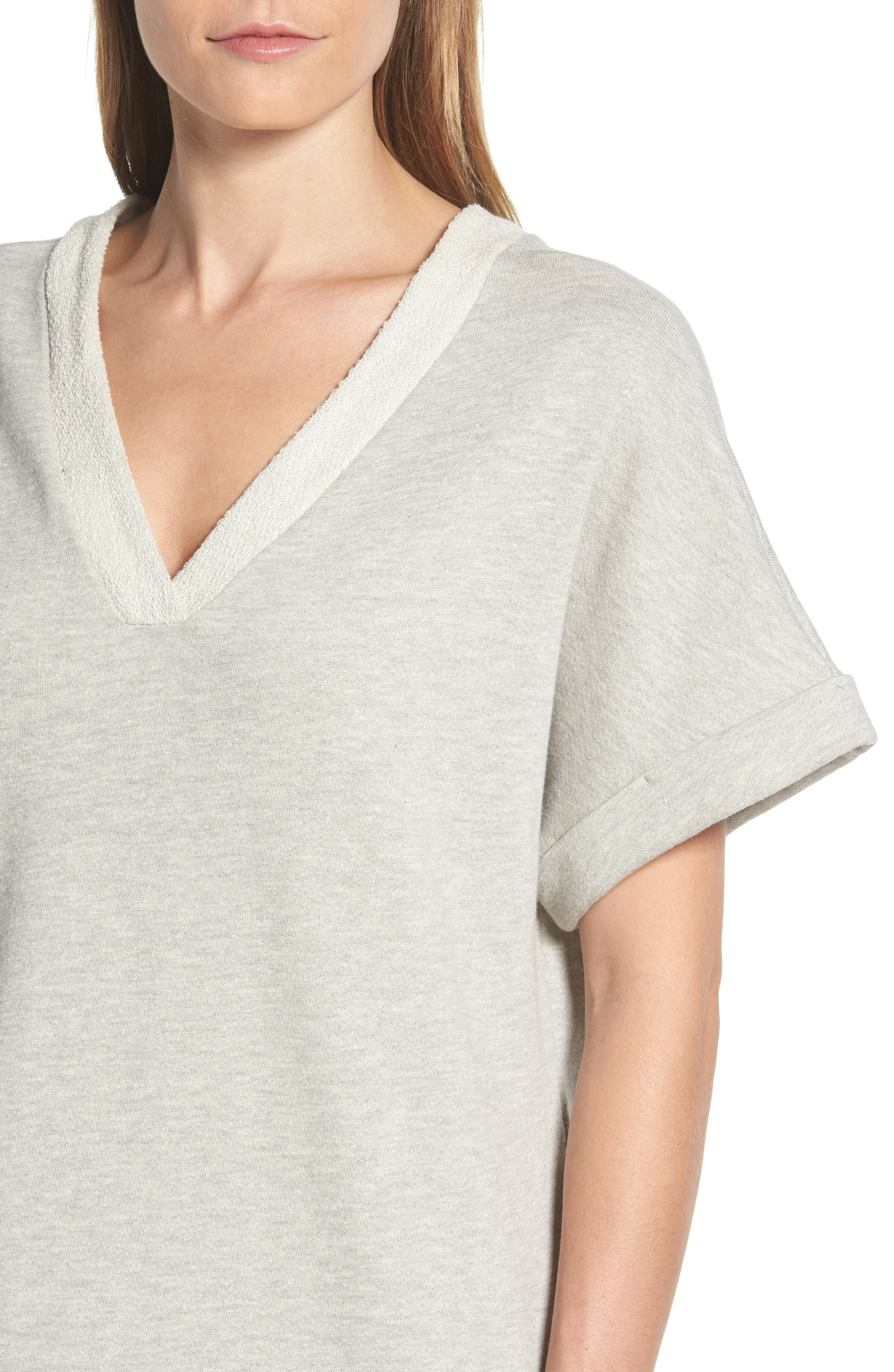 Off-Duty French Terry Dress,                             Alternate thumbnail 4, color,                             Grey Heather