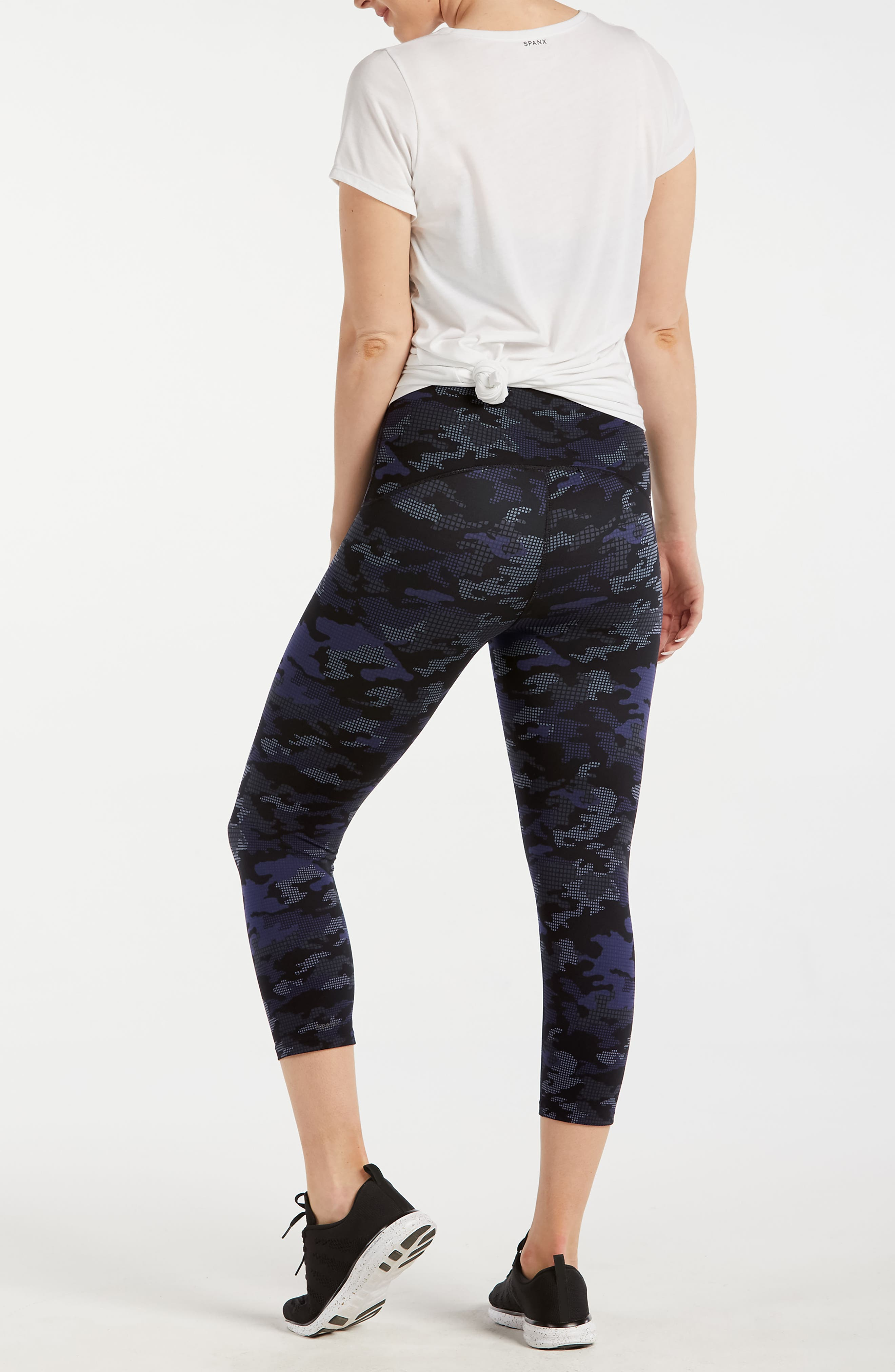 Active Print Crop Leggings,                             Alternate thumbnail 2, color,                             Geo Blue Camo