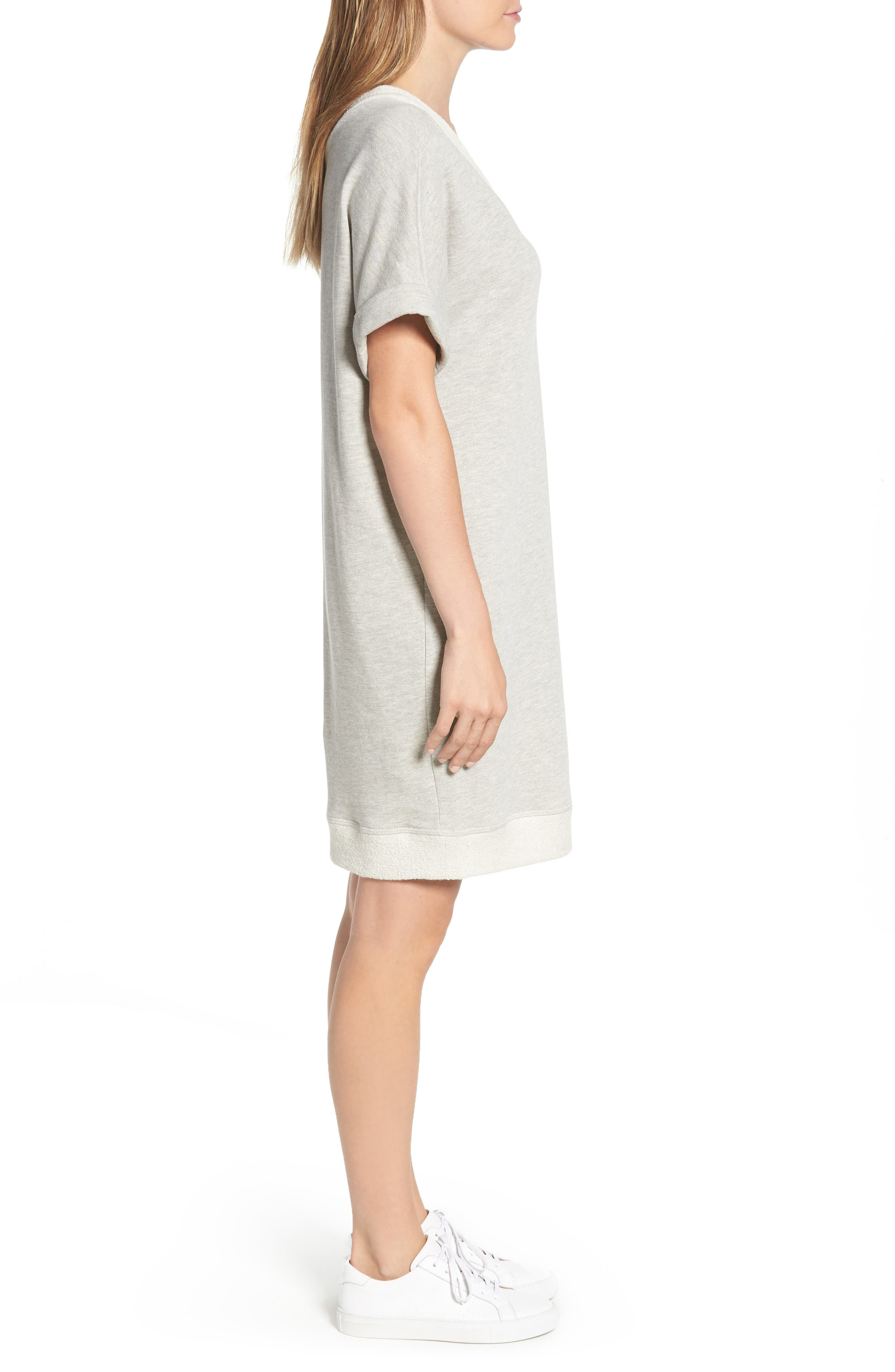 Off-Duty French Terry Dress,                             Alternate thumbnail 3, color,                             Grey Heather