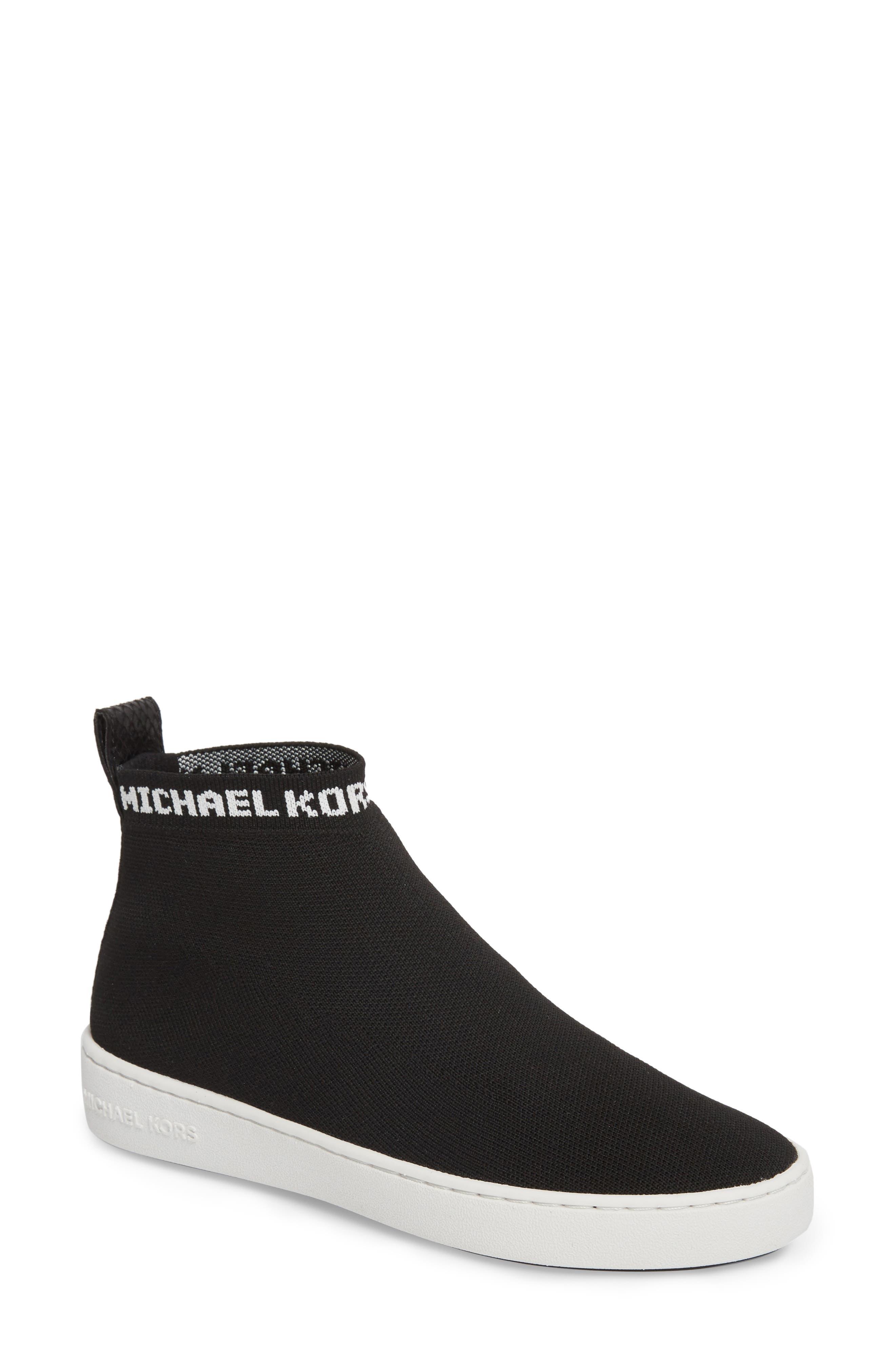 Hilda High Top Sock Sneaker,                             Main thumbnail 1, color,                             Black Knit Fabric