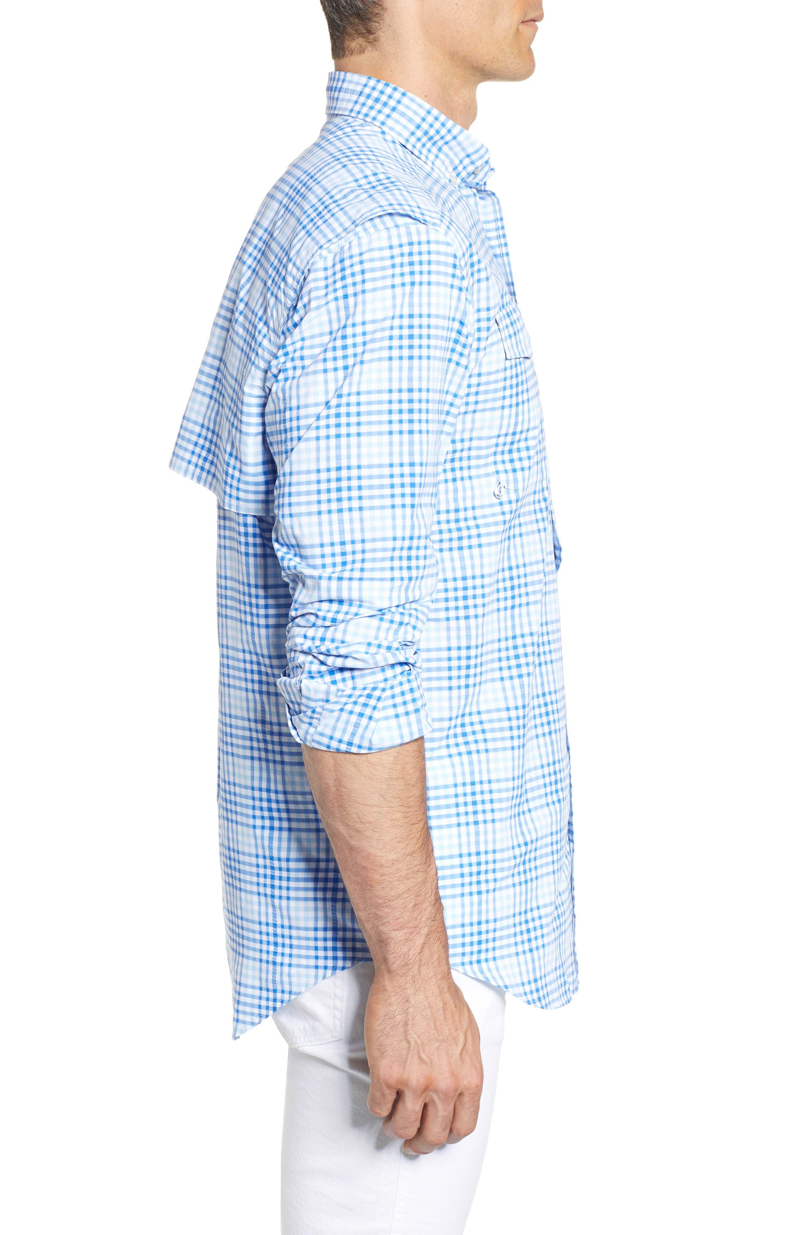 South Shore Harbor Regular Fit Plaid Performance Sport Shirt,                             Alternate thumbnail 4, color,                             Jake Blue