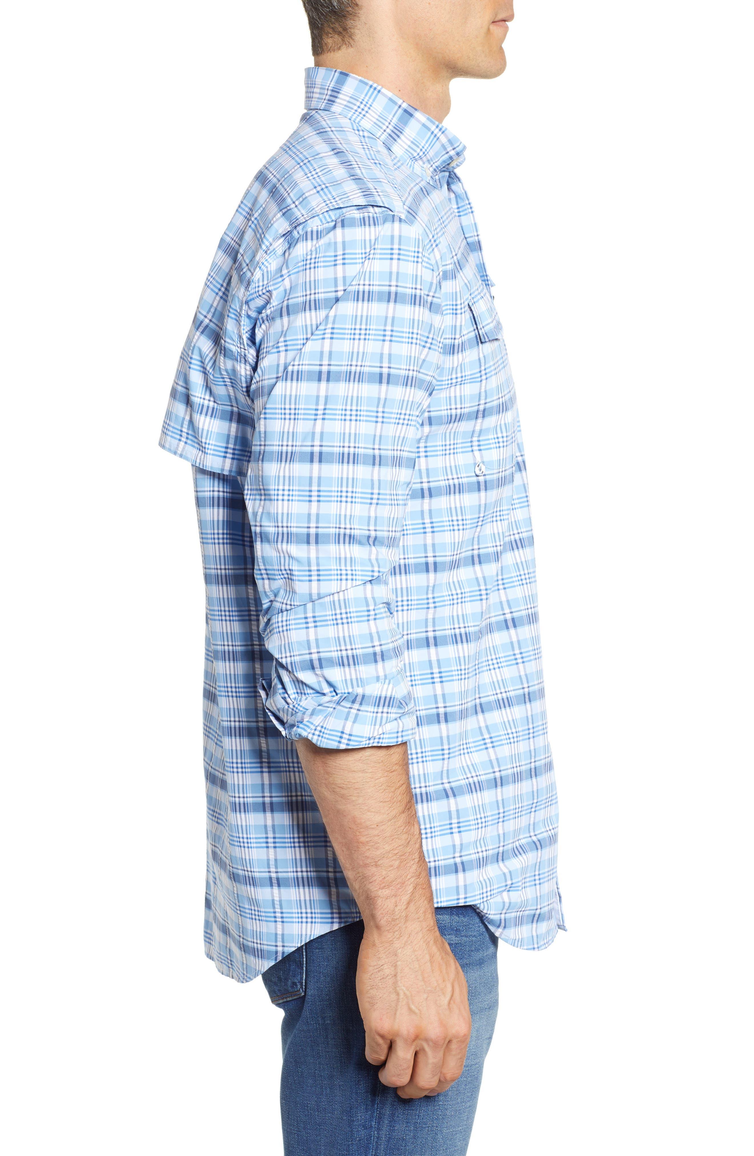 Prospect Hill Harbor Regular Fit Plaid Performance Sport Shirt,                             Alternate thumbnail 4, color,                             Ocean Breeze