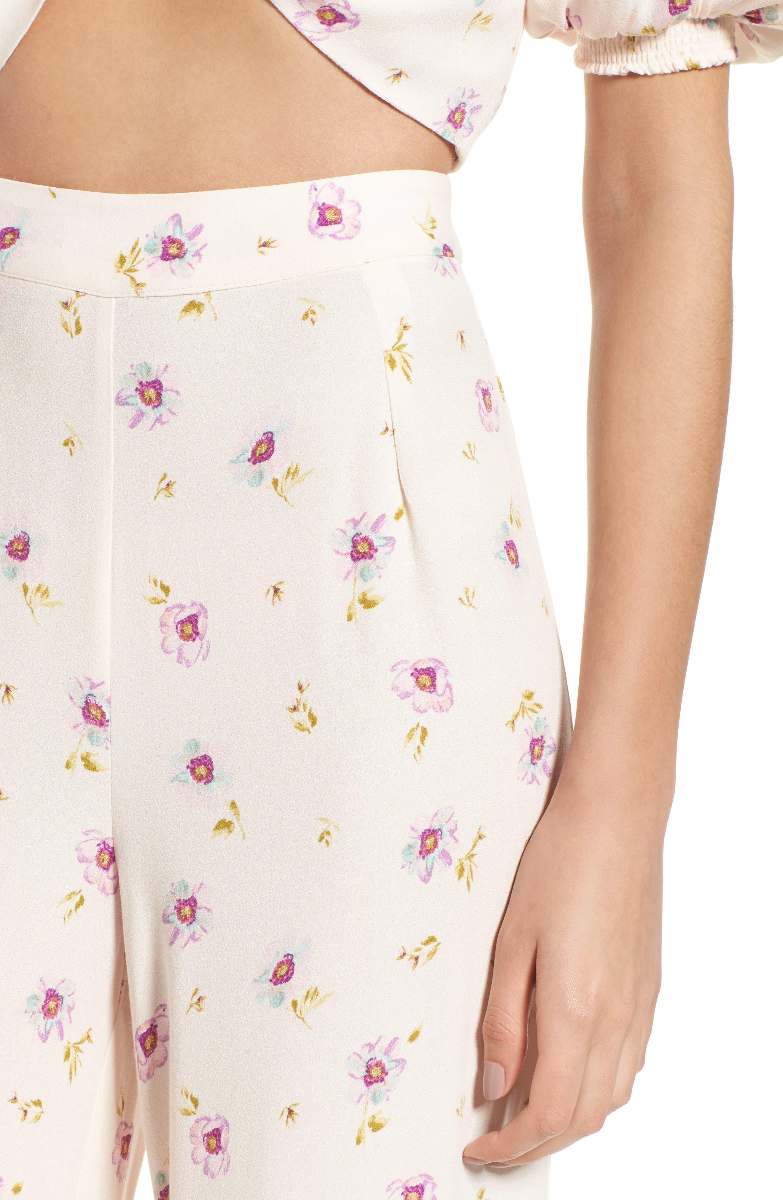 Carter High Waist Wide Leg Pants,                             Alternate thumbnail 5, color,                             Lilac Floral