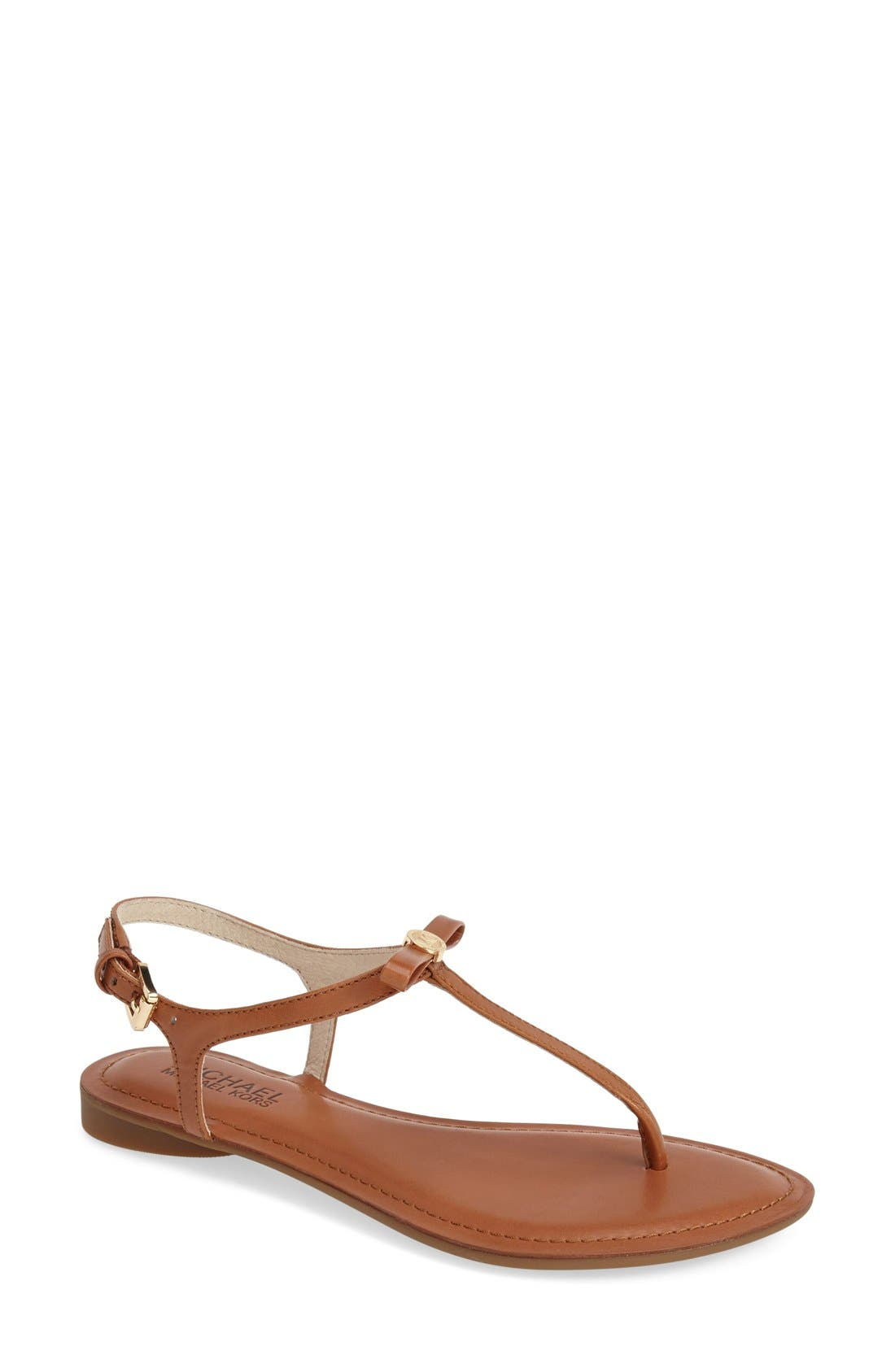 'Josie' T-Strap Leather Sandal,                             Main thumbnail 1, color,                             Luggage