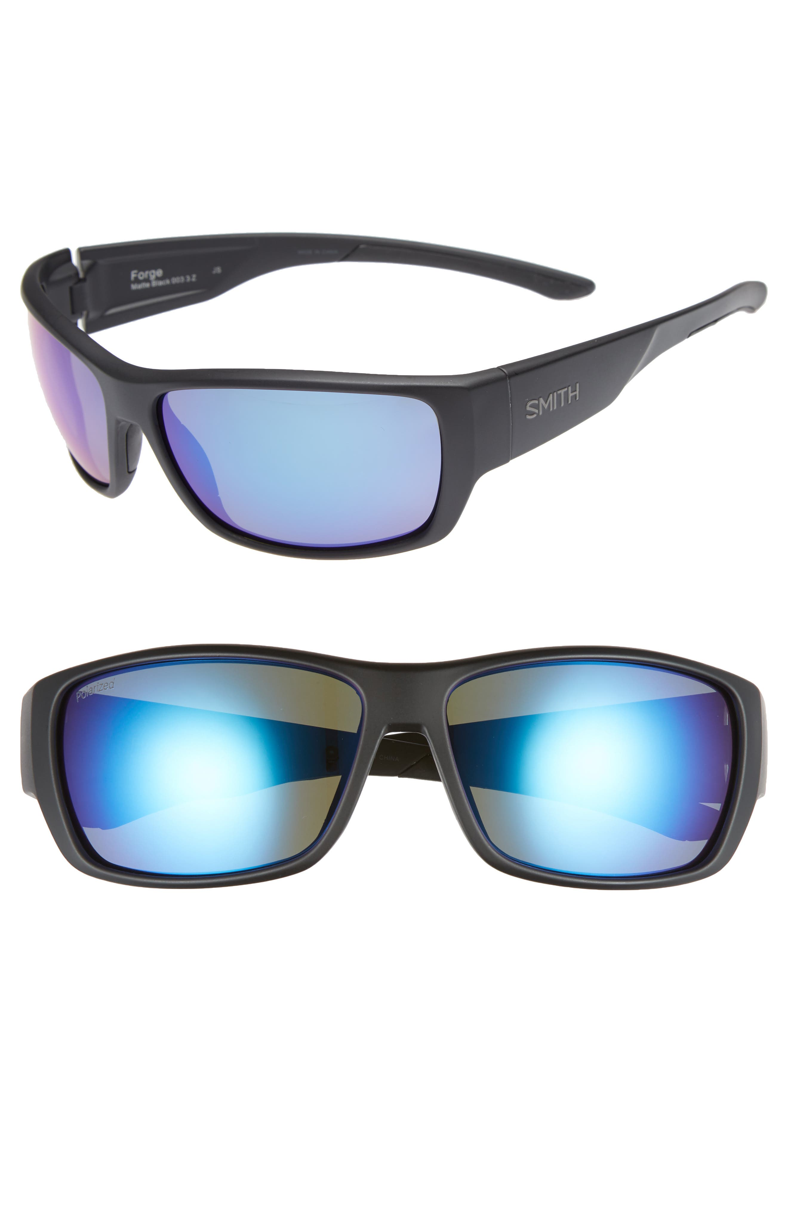 SMITH FORGE 61MM POLARIZED SUNGLASSES - MATTE BLACK/ BLUE MIRROR