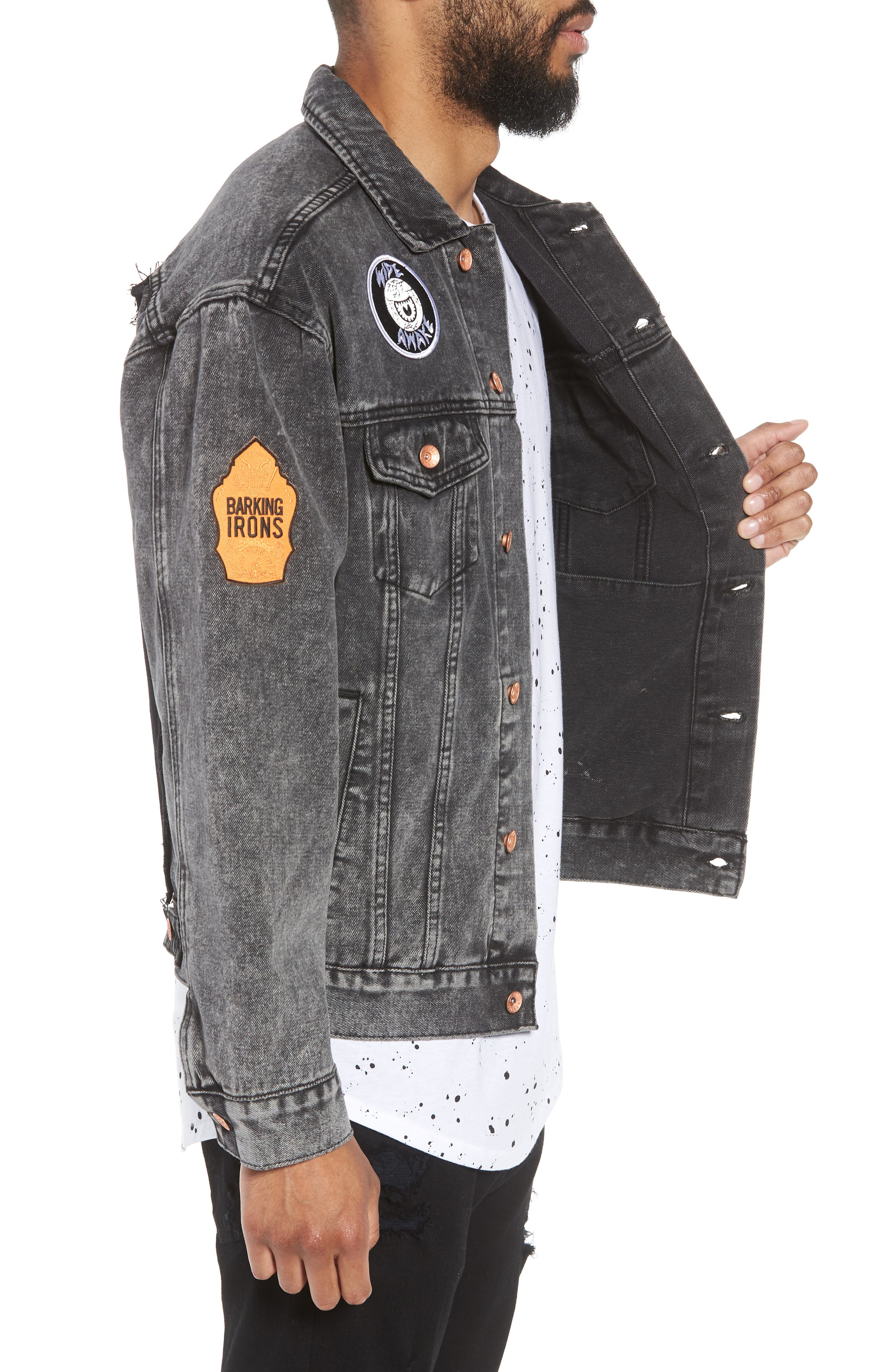 On the Bowery Denim Jacket,                             Alternate thumbnail 3, color,                             Grey Ghost