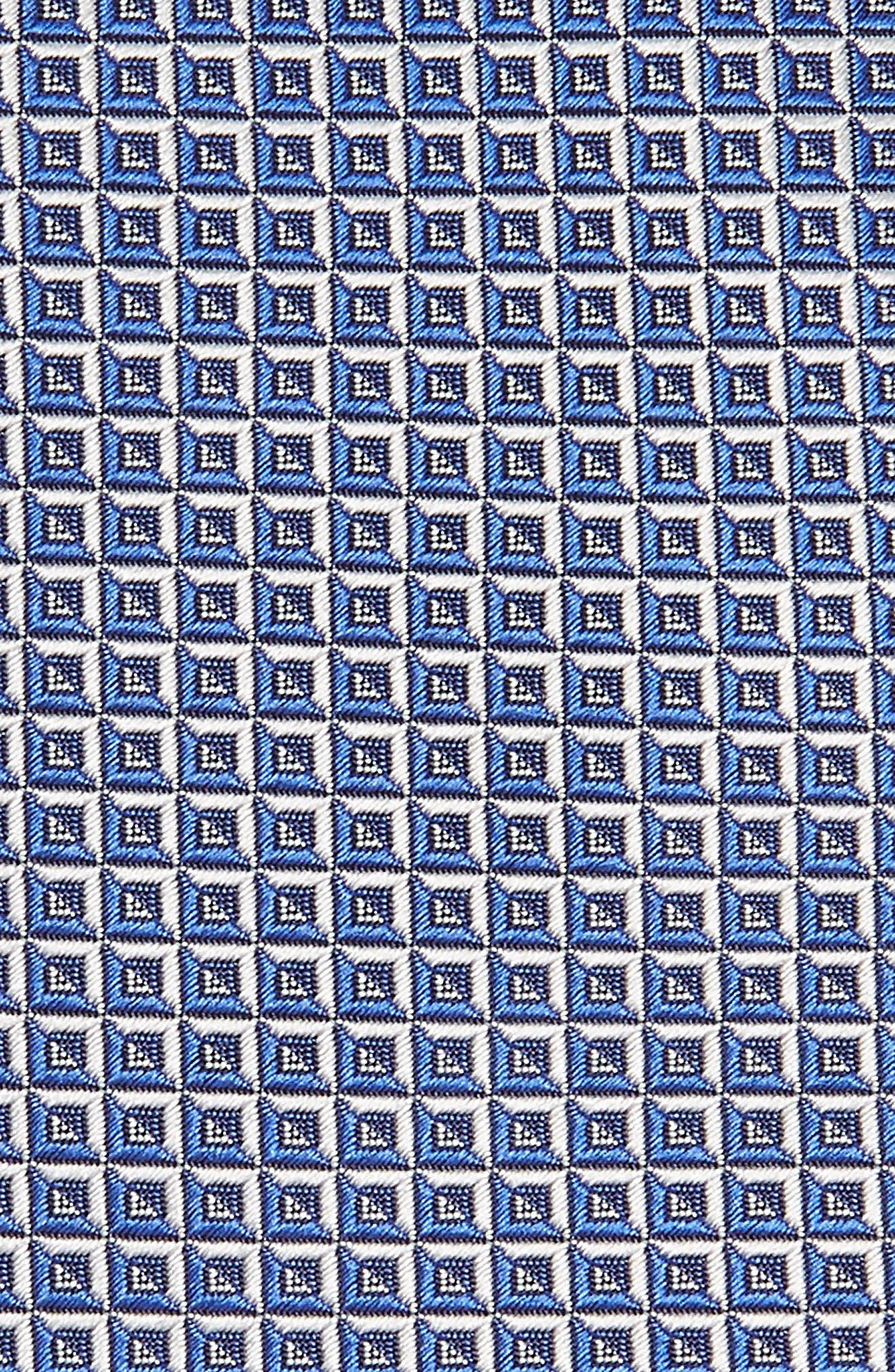 Geometric Grid Silk Tie,                             Alternate thumbnail 2, color,                             Blue