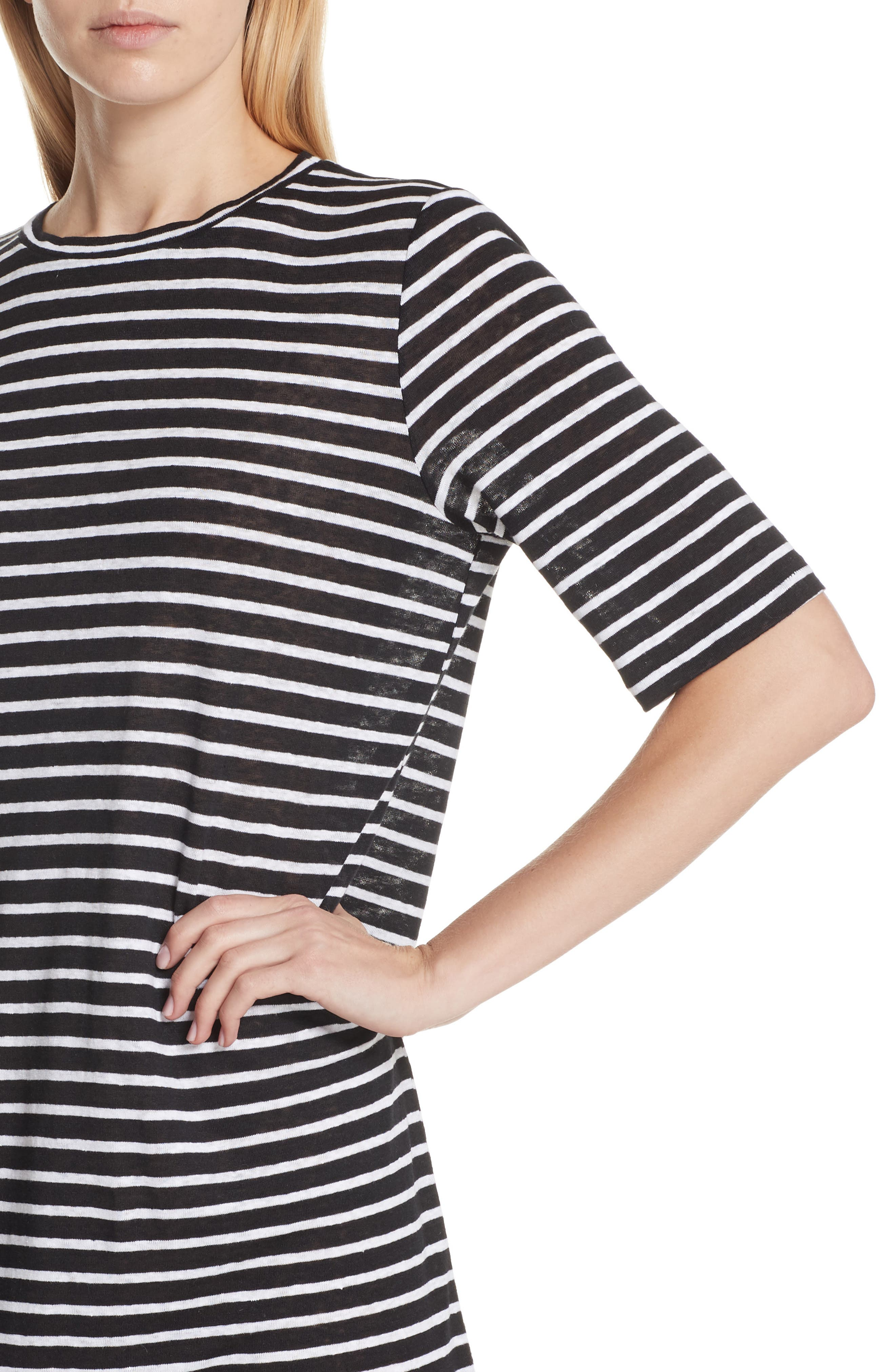 Stripe Organic Linen Knit Shift Dress,                             Alternate thumbnail 4, color,                             Black/ White