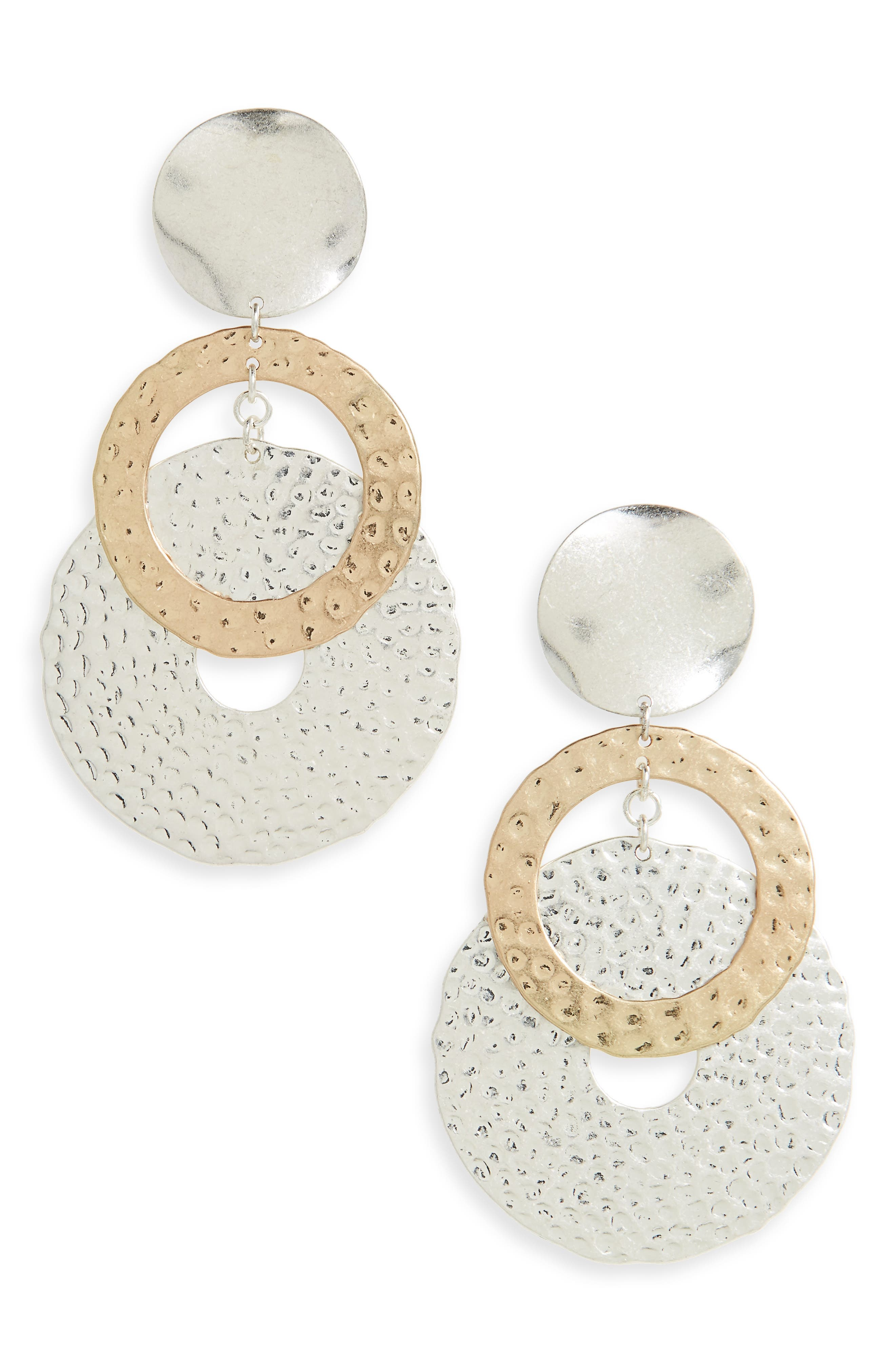 Kitsch Hammered Circle Drop Earrings