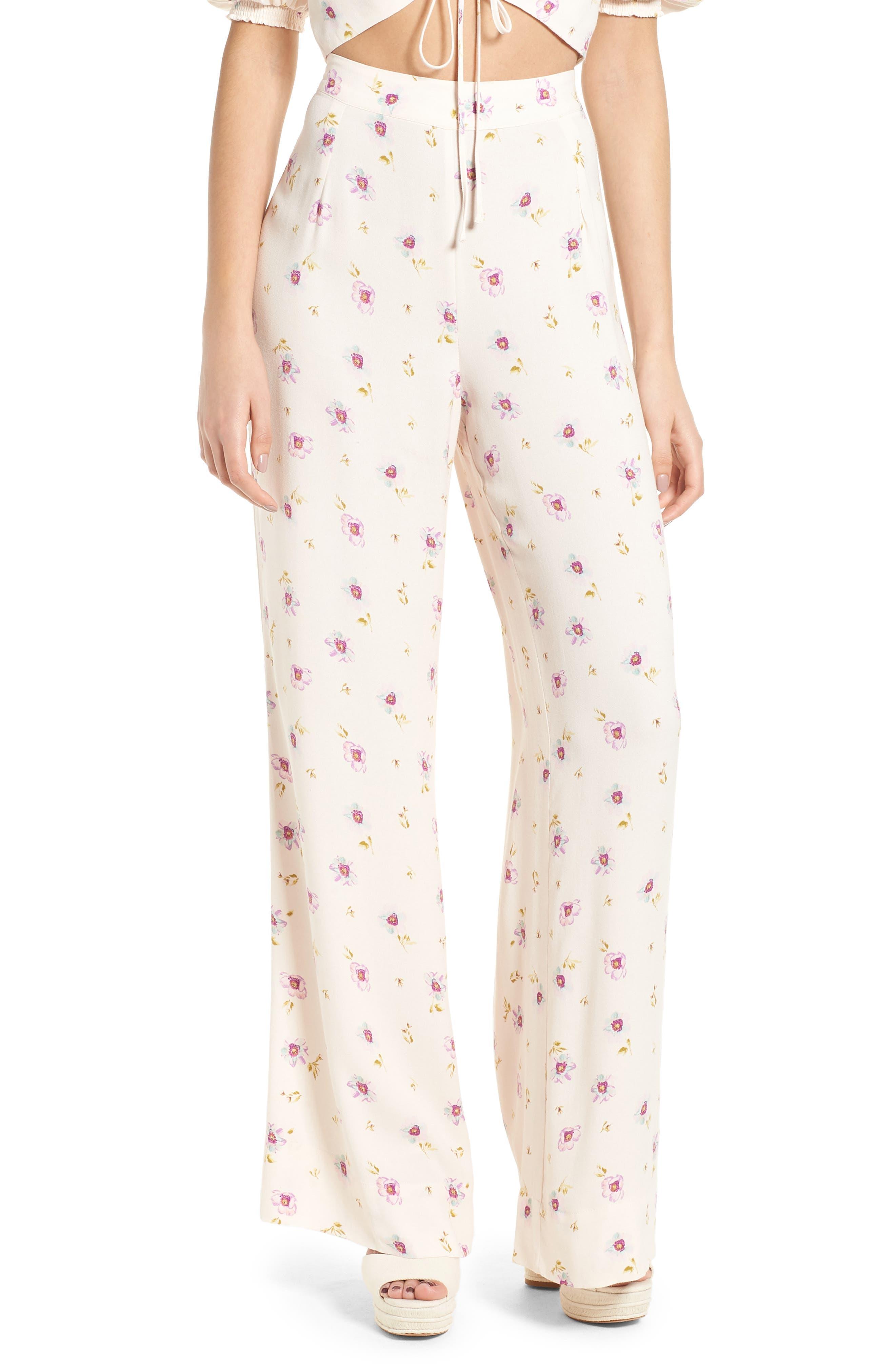 Carter High Waist Wide Leg Pants,                             Main thumbnail 1, color,                             Lilac Floral