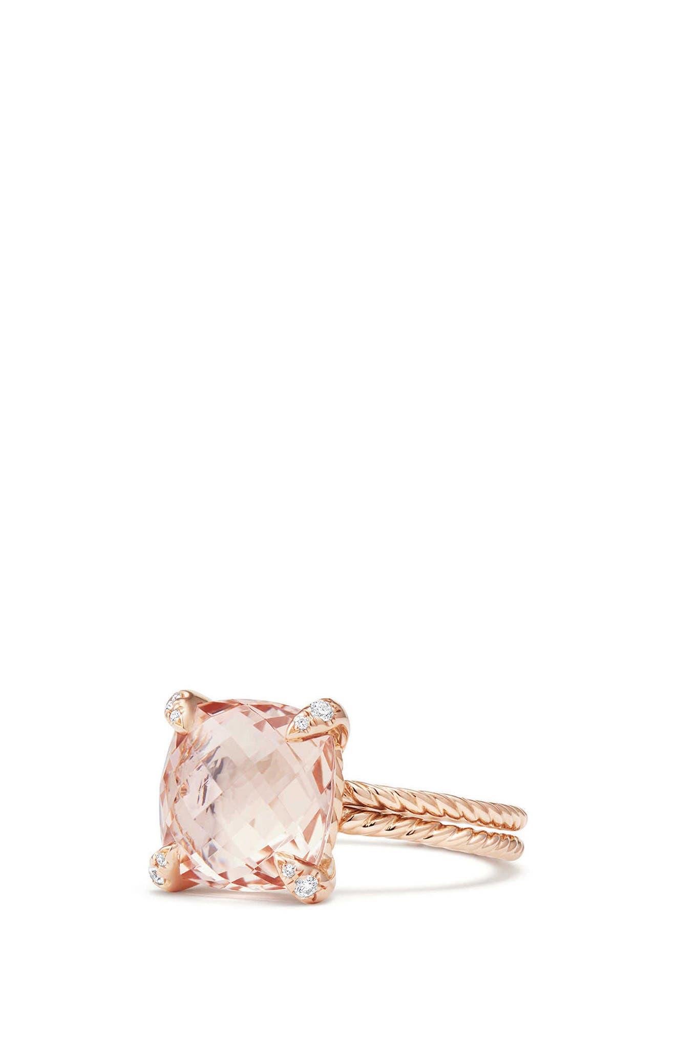 Chatelaine<sup>®</sup> Morganite & Diamond Ring in 18K Rose Gold,                             Alternate thumbnail 3, color,                             Rose Gold/ Diamond/ Morganite