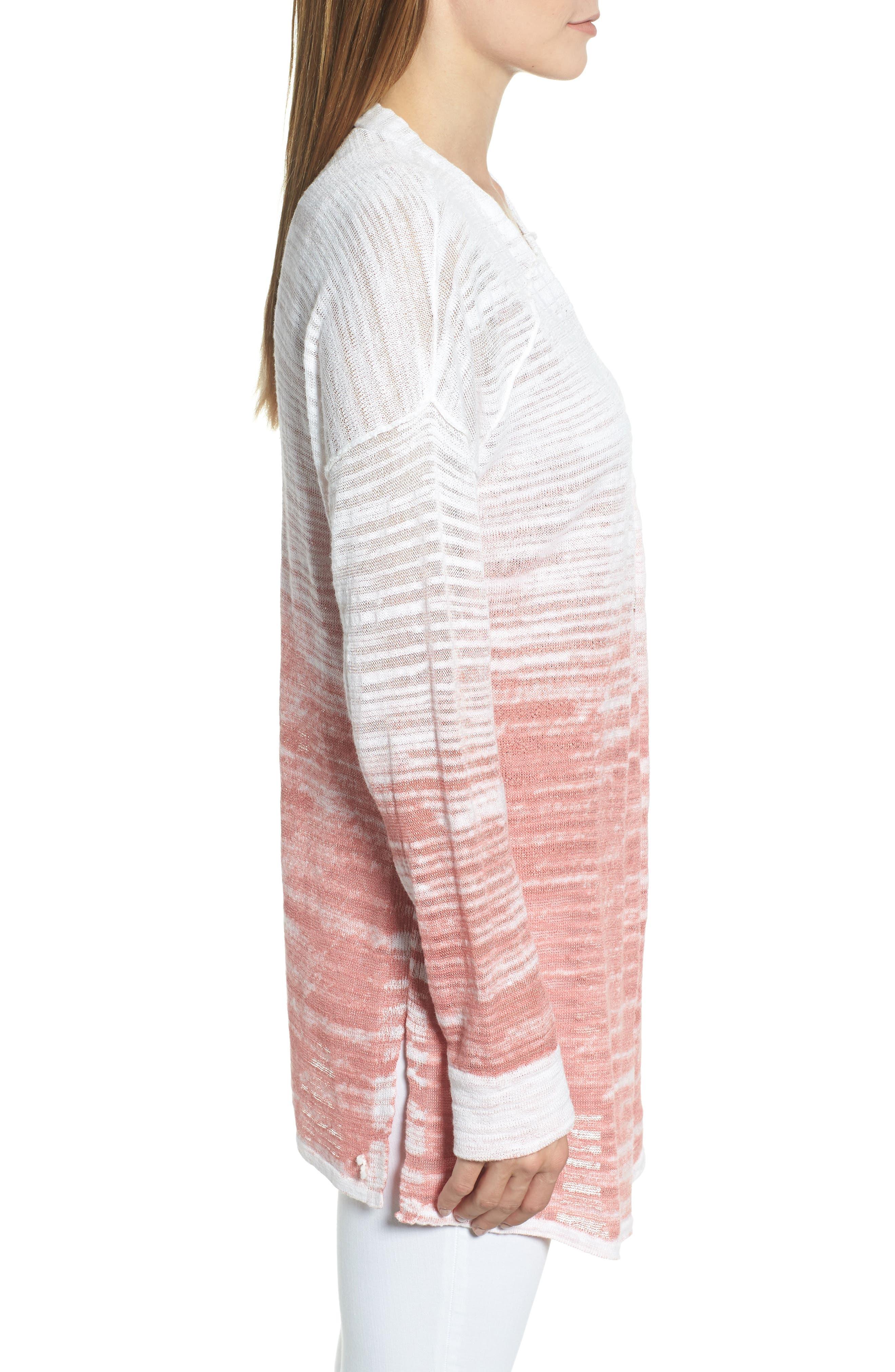 Open Breeze Linen Cotton Ombré Cardigan,                             Alternate thumbnail 3, color,                             Pink Clay