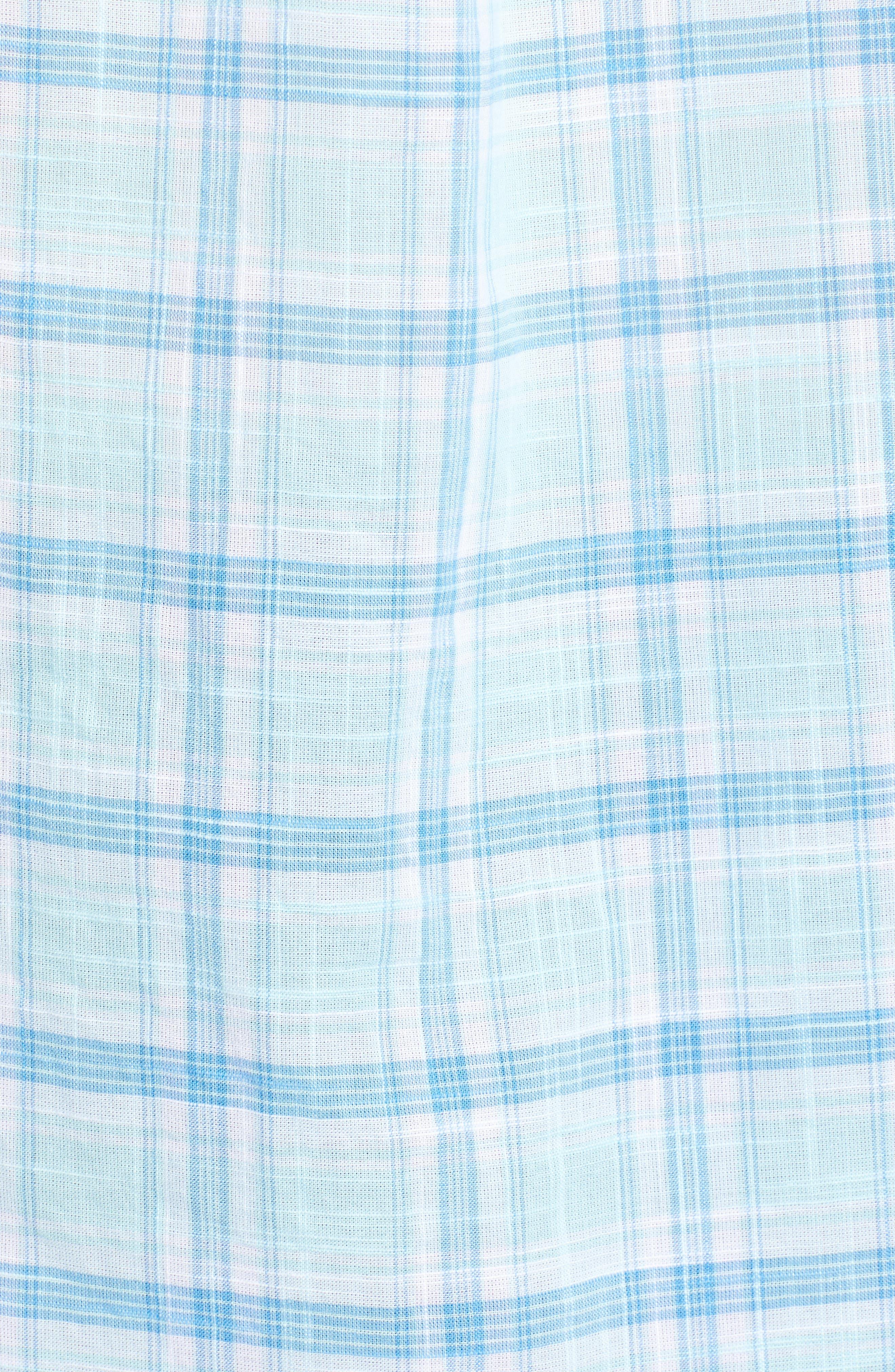 Pleasant Bay Classic Fit Plaid Sport Shirt,                             Alternate thumbnail 5, color,                             Pool Side