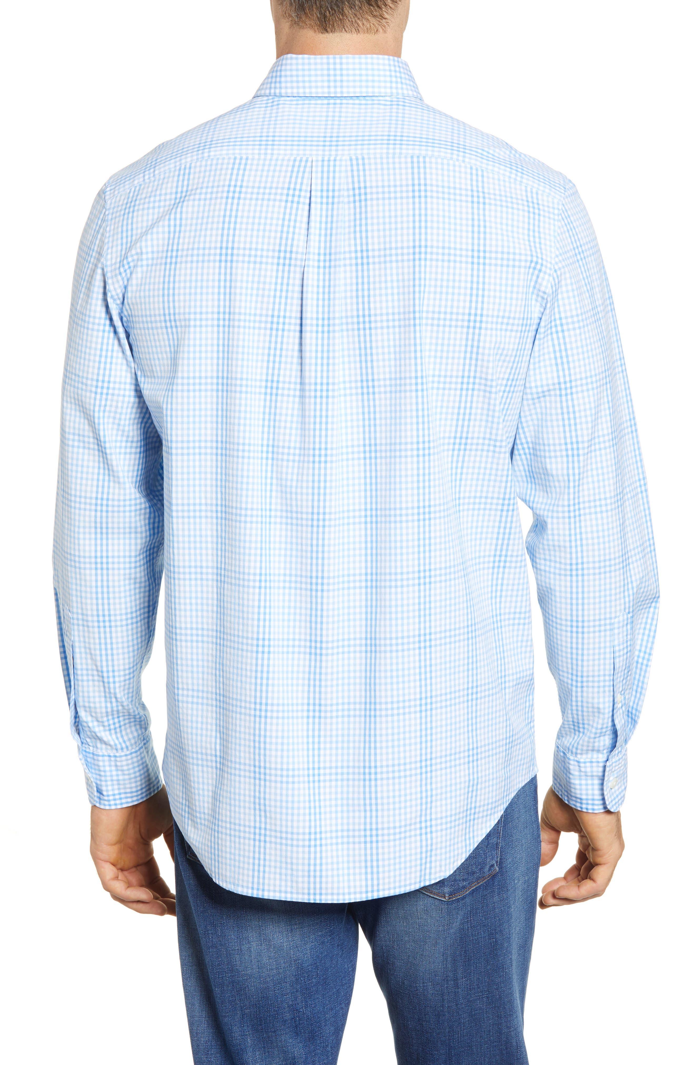 Ridge Hill Classic Fit Check Sport Shirt,                             Alternate thumbnail 3, color,                             Harbor Cay