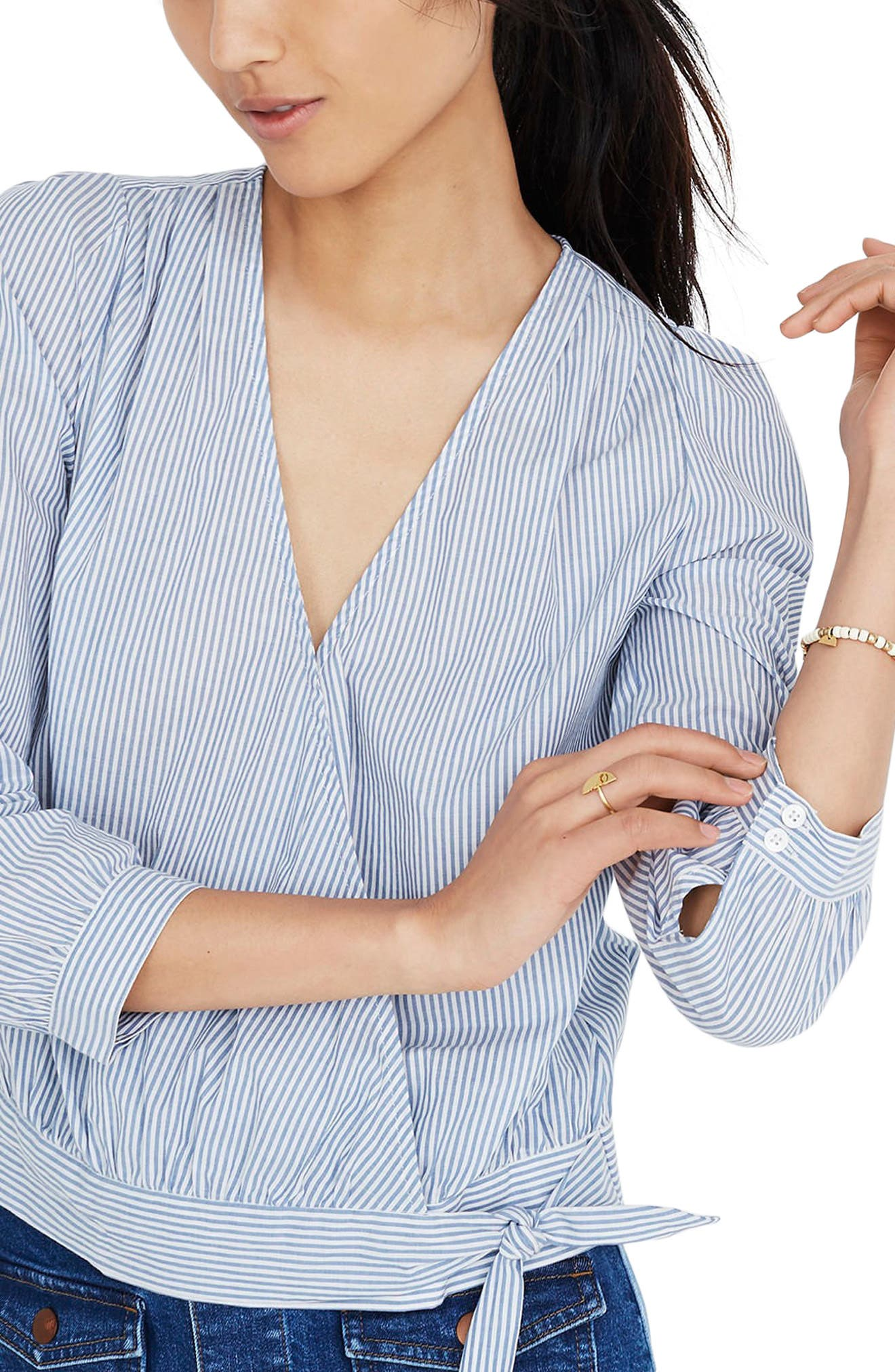 Madewell Albury Stripe Wrap Top