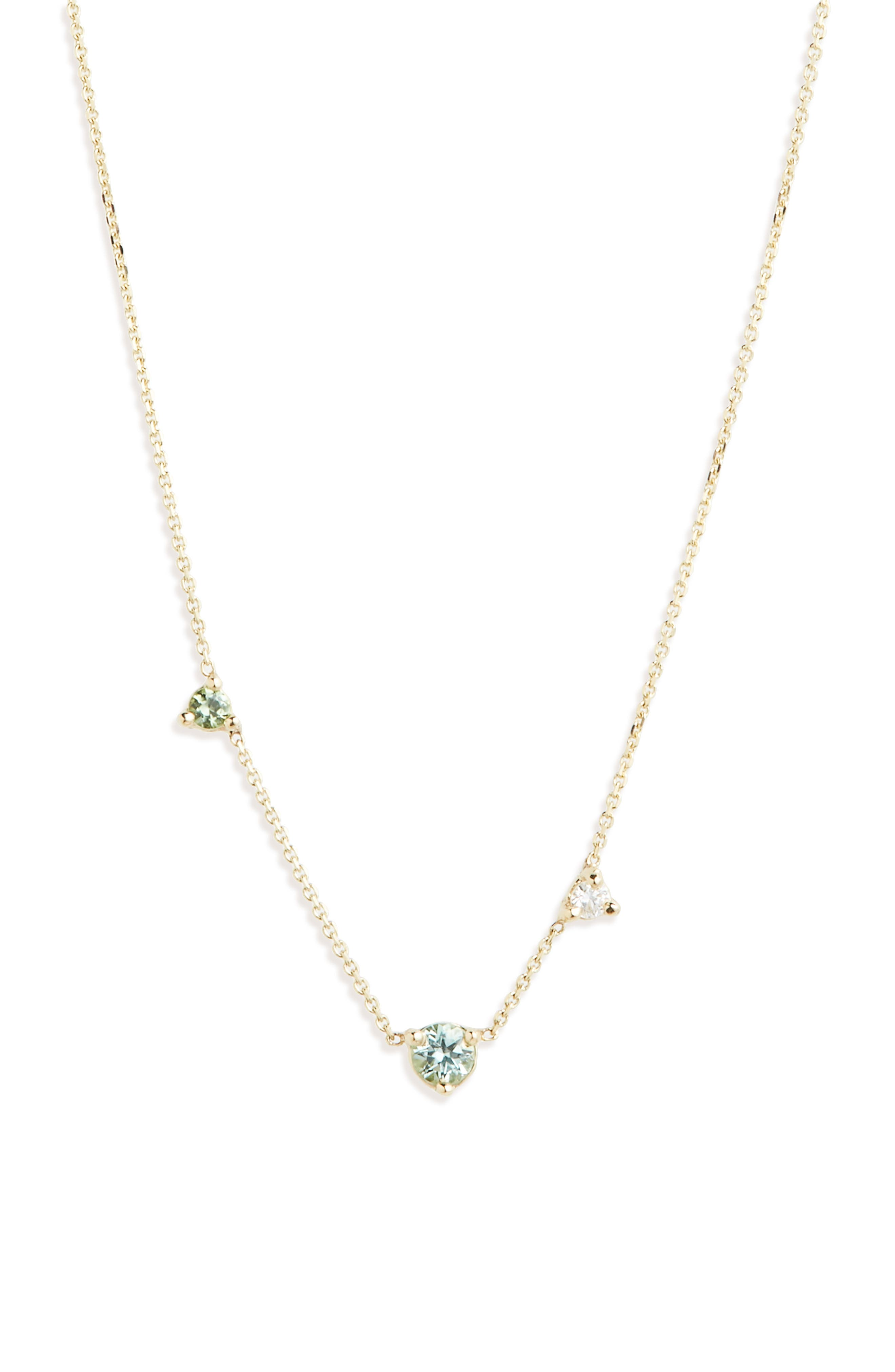 WWAKE Counting Collection Three-Step Necklace in Gold/ Green