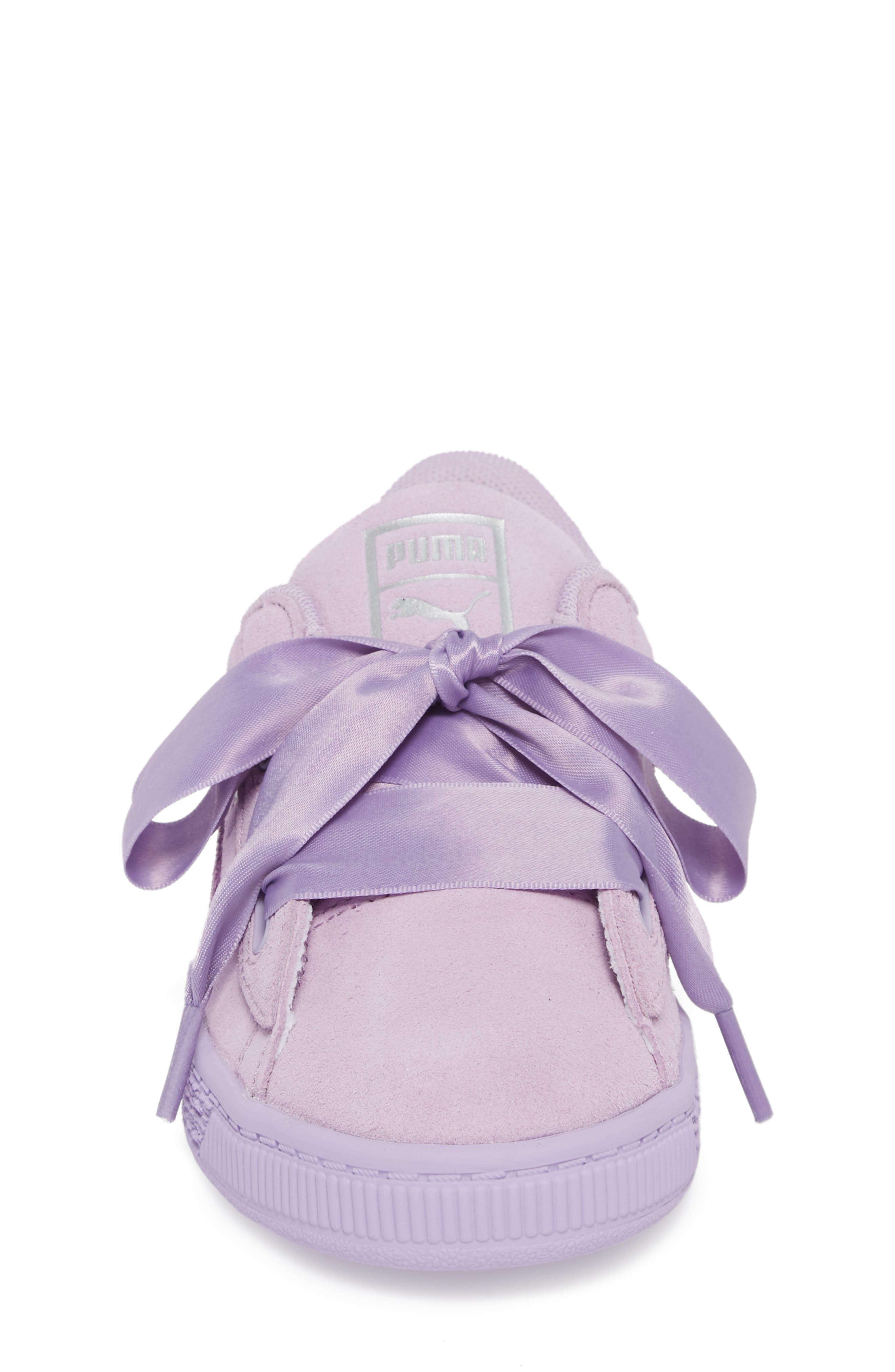Basket Heart Glitz Sneaker,                             Alternate thumbnail 4, color,                             Purple Haze/ Silver