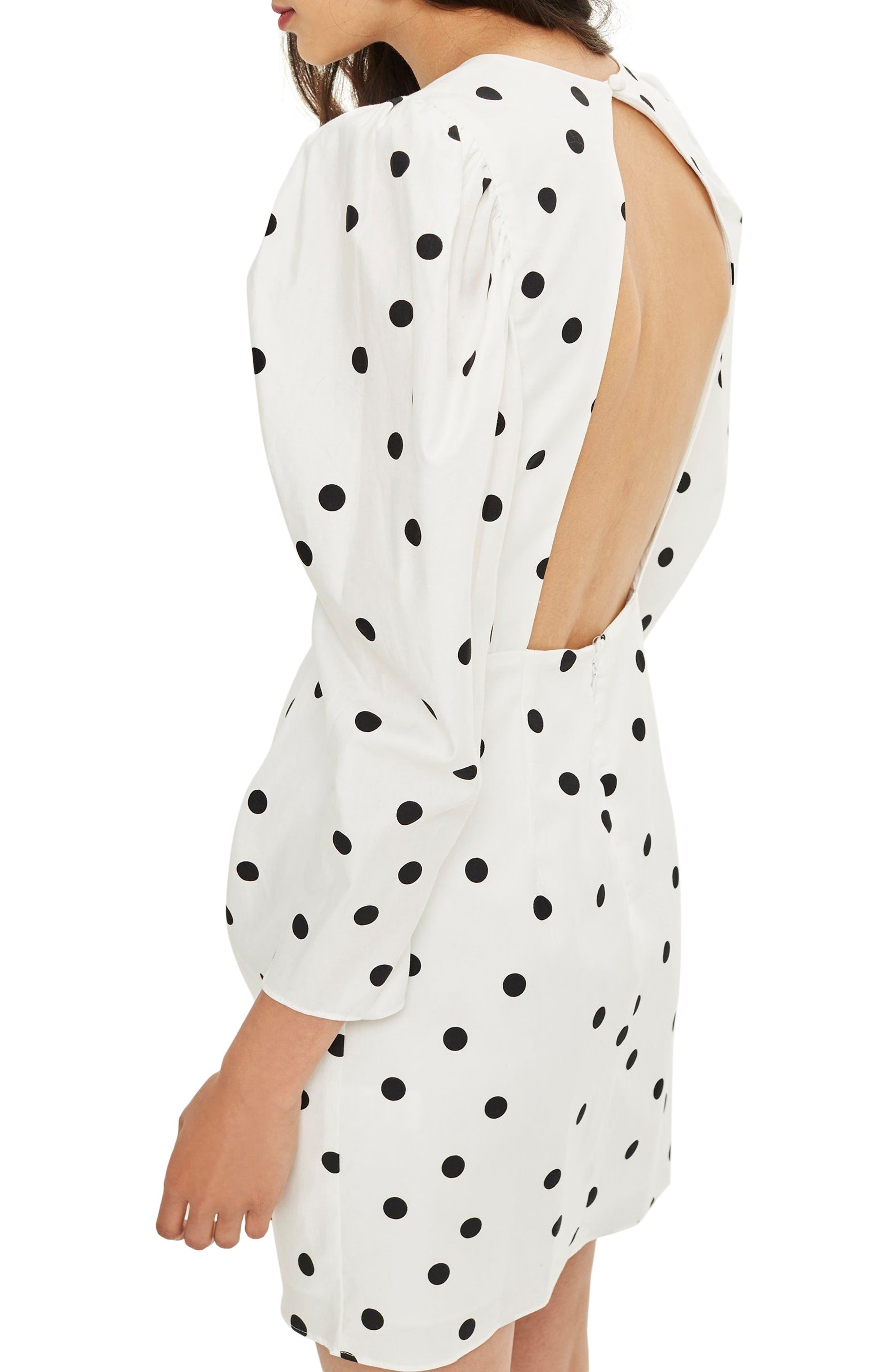 Puff Sleeve Polka Dot Minidress,                             Alternate thumbnail 2, color,                             Ivory Multi