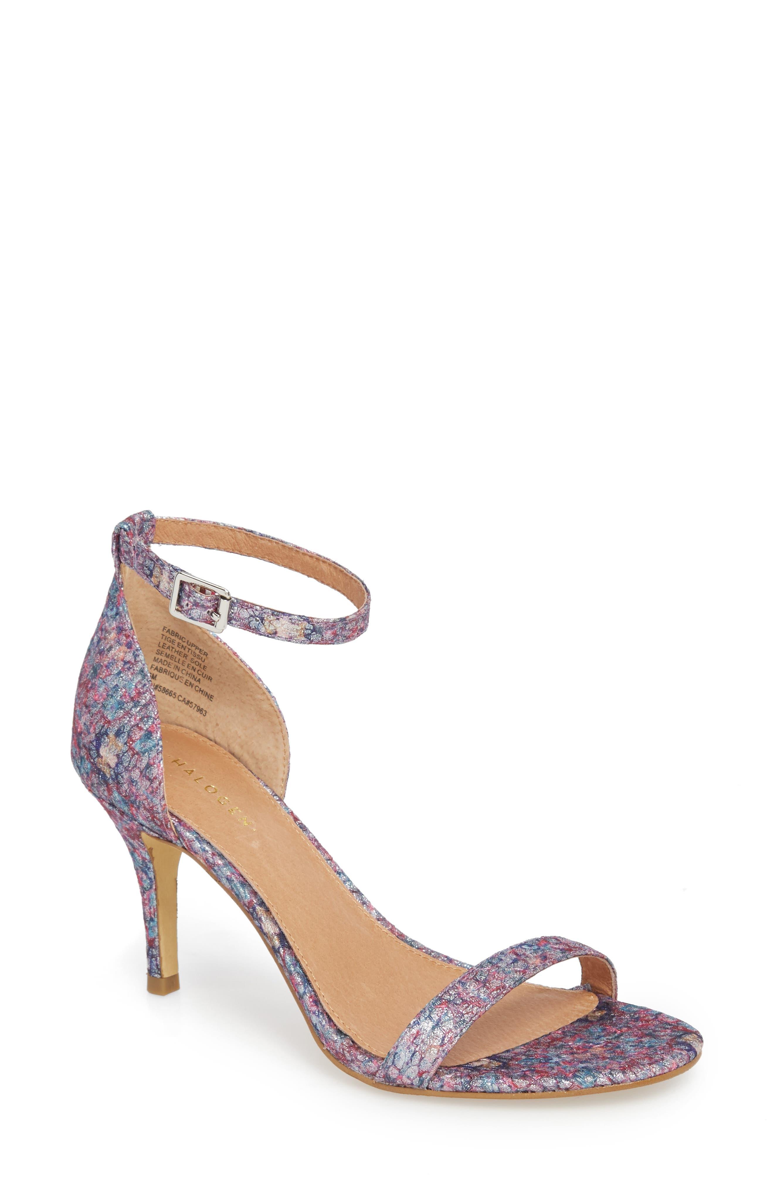 Audrey Ankle Strap Sandal,                             Main thumbnail 1, color,                             Bright Confetti Fabric