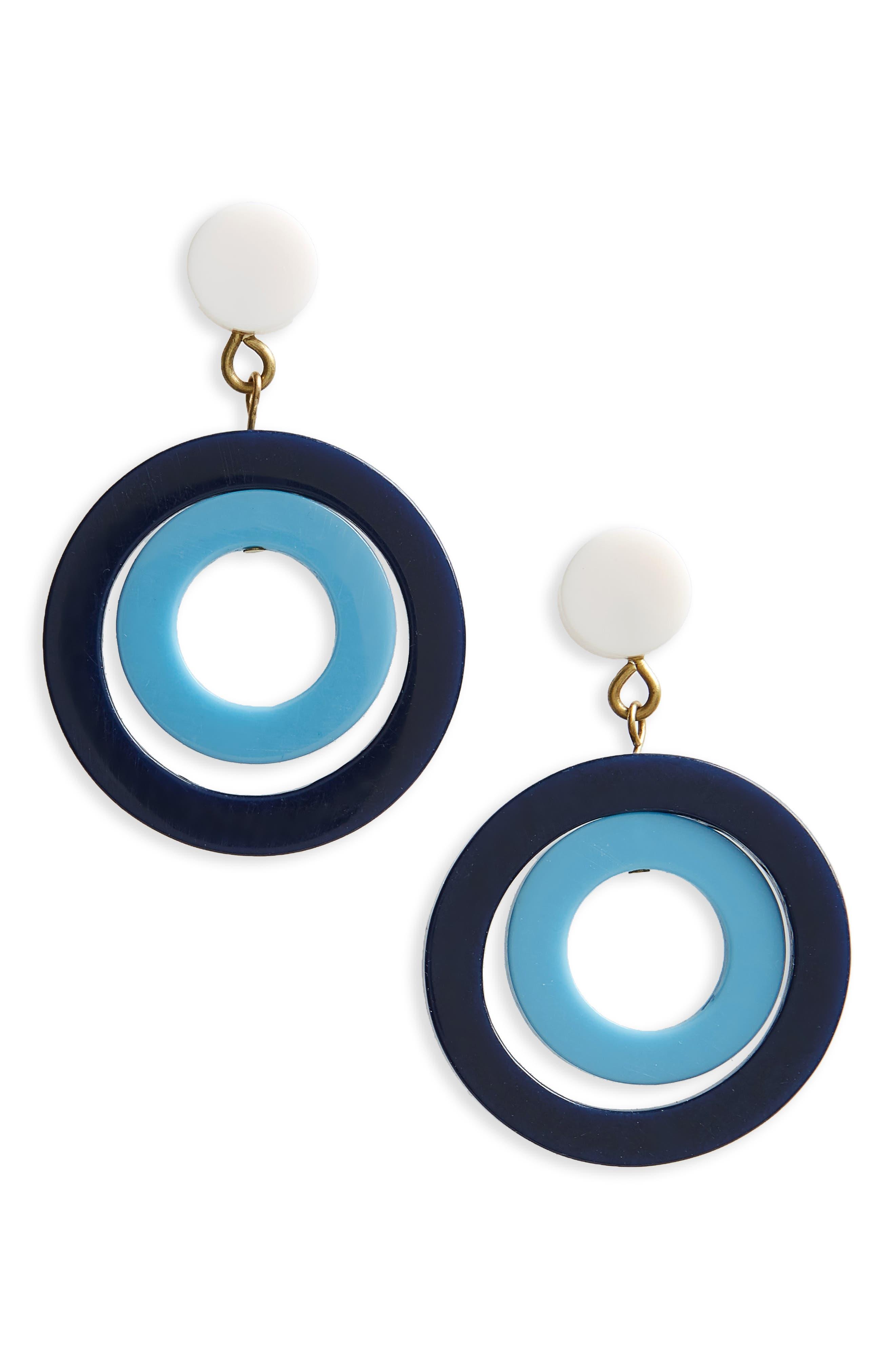 Huntington Earrings,                         Main,                         color, Navy/ Turquoise