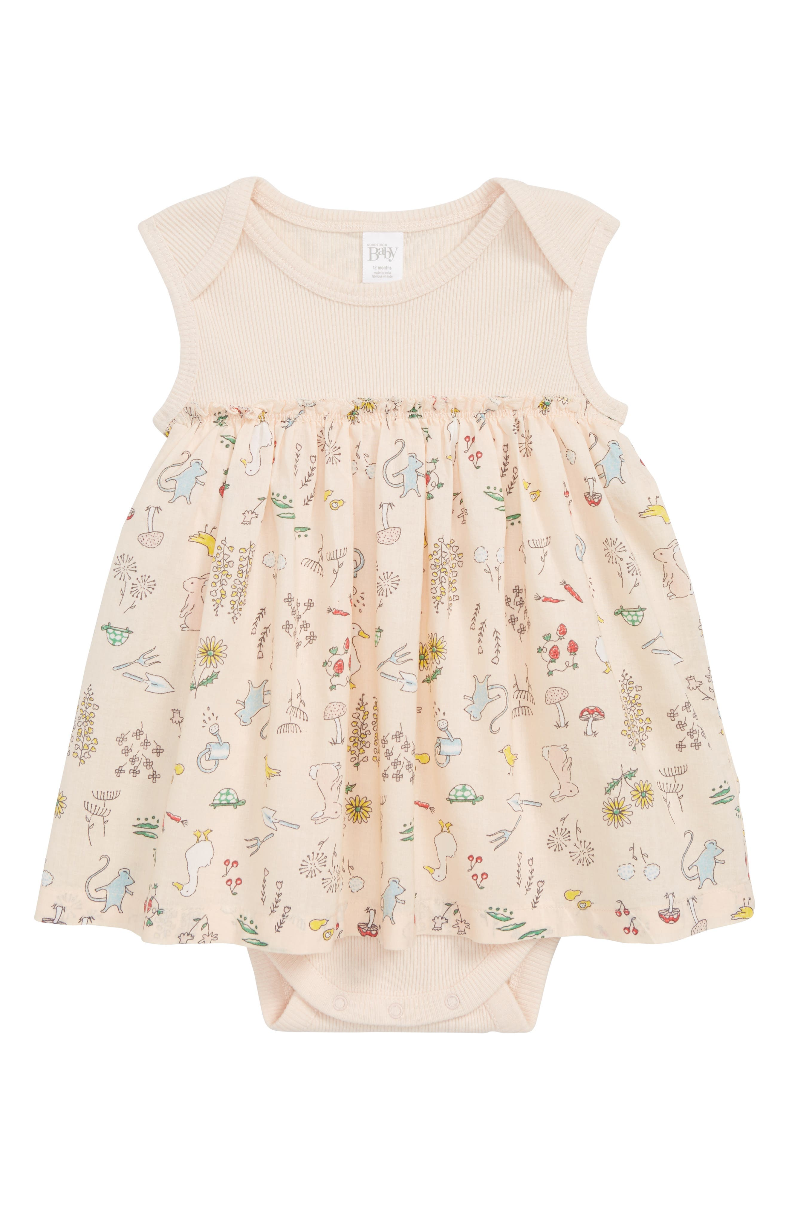 Bodysuit Dress,                             Main thumbnail 1, color,                             Pink Soft Animal Forest